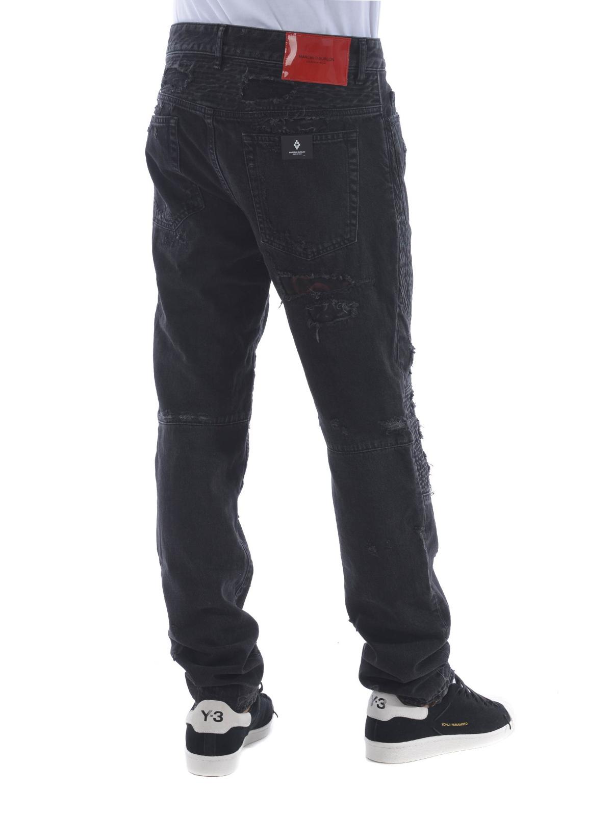 straight leg jeans with patches - Black Marcelo Burlon qkPToD7