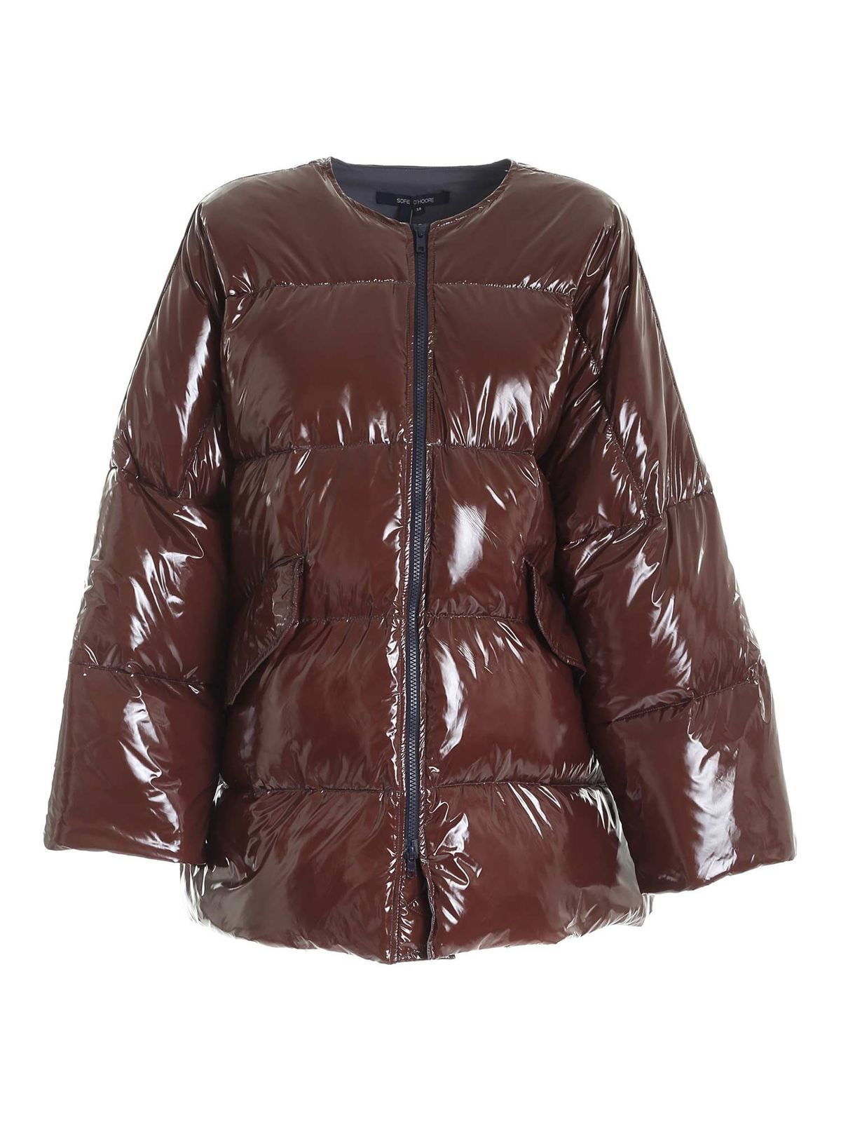 Sofie D'hoore PAINTED EFFECT OVERSIZED DOWN JACKET IN BROWN