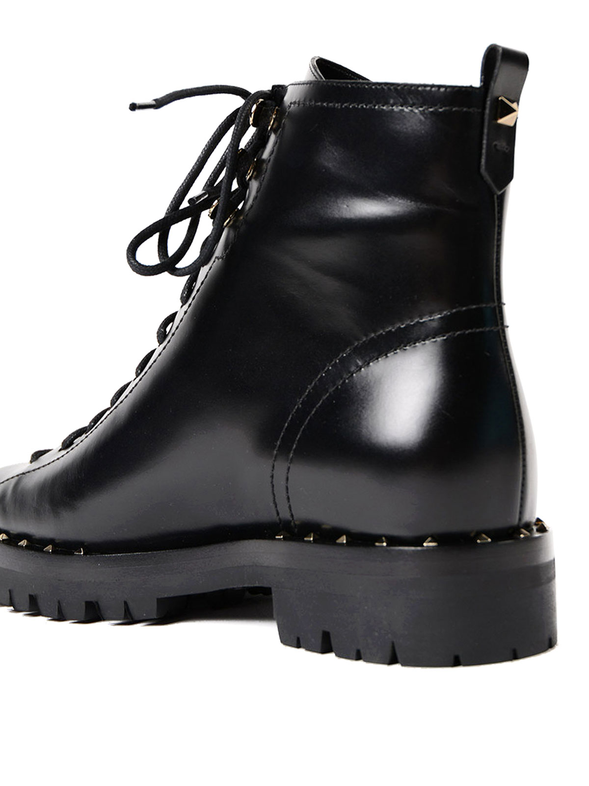 b440c6662c7 Valentino Garavani - Soul Rockstud leather combat boots - ankle ...