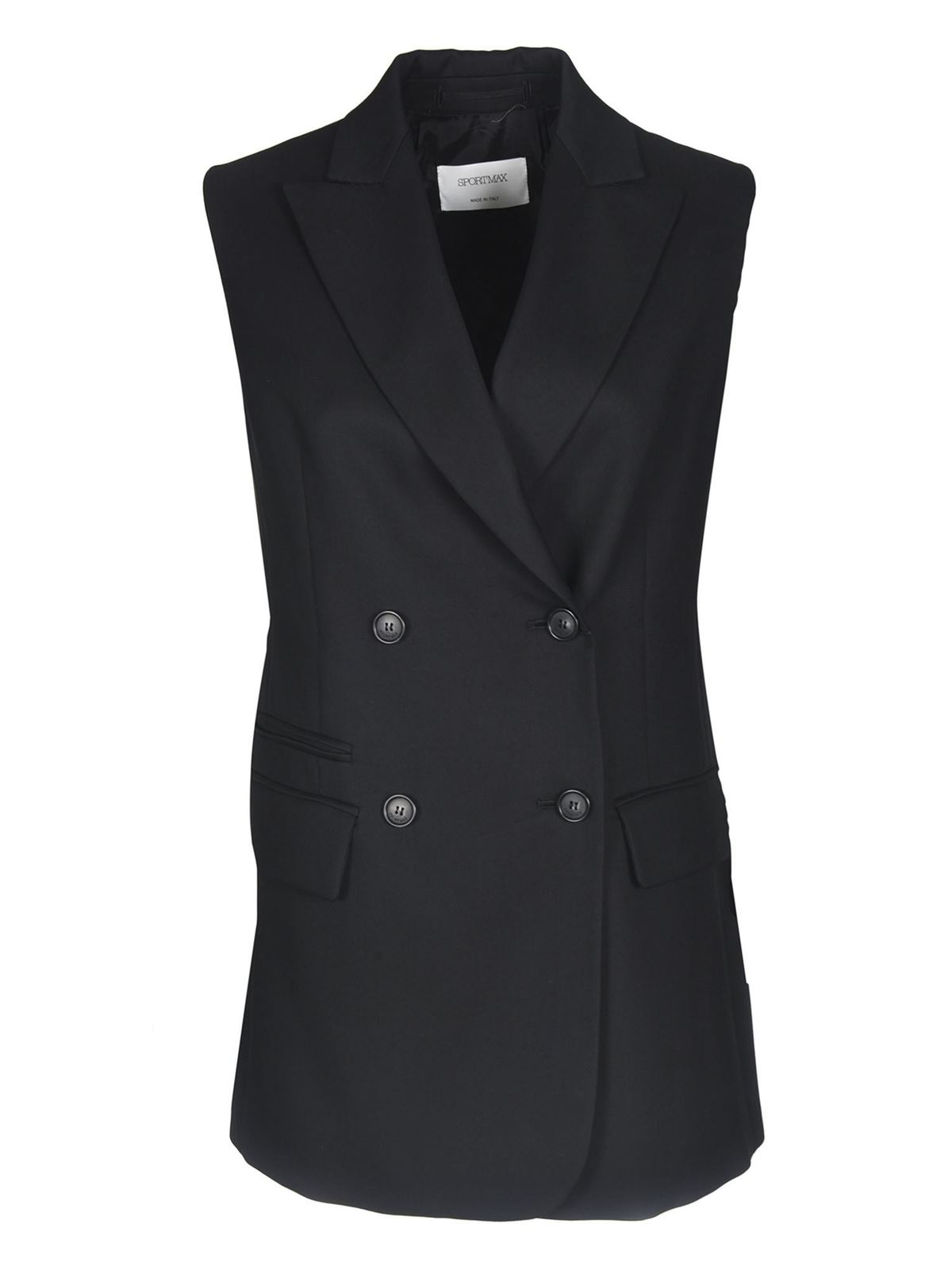 Sportmax DETROIT SLEEVELESS BLAZER IN BLACK