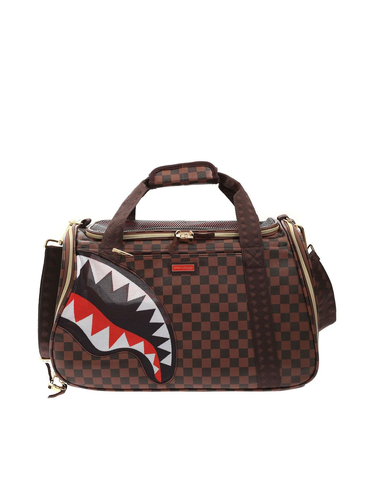 Sprayground SHARK PET CARRIER CHECKED BAG IN BROWN