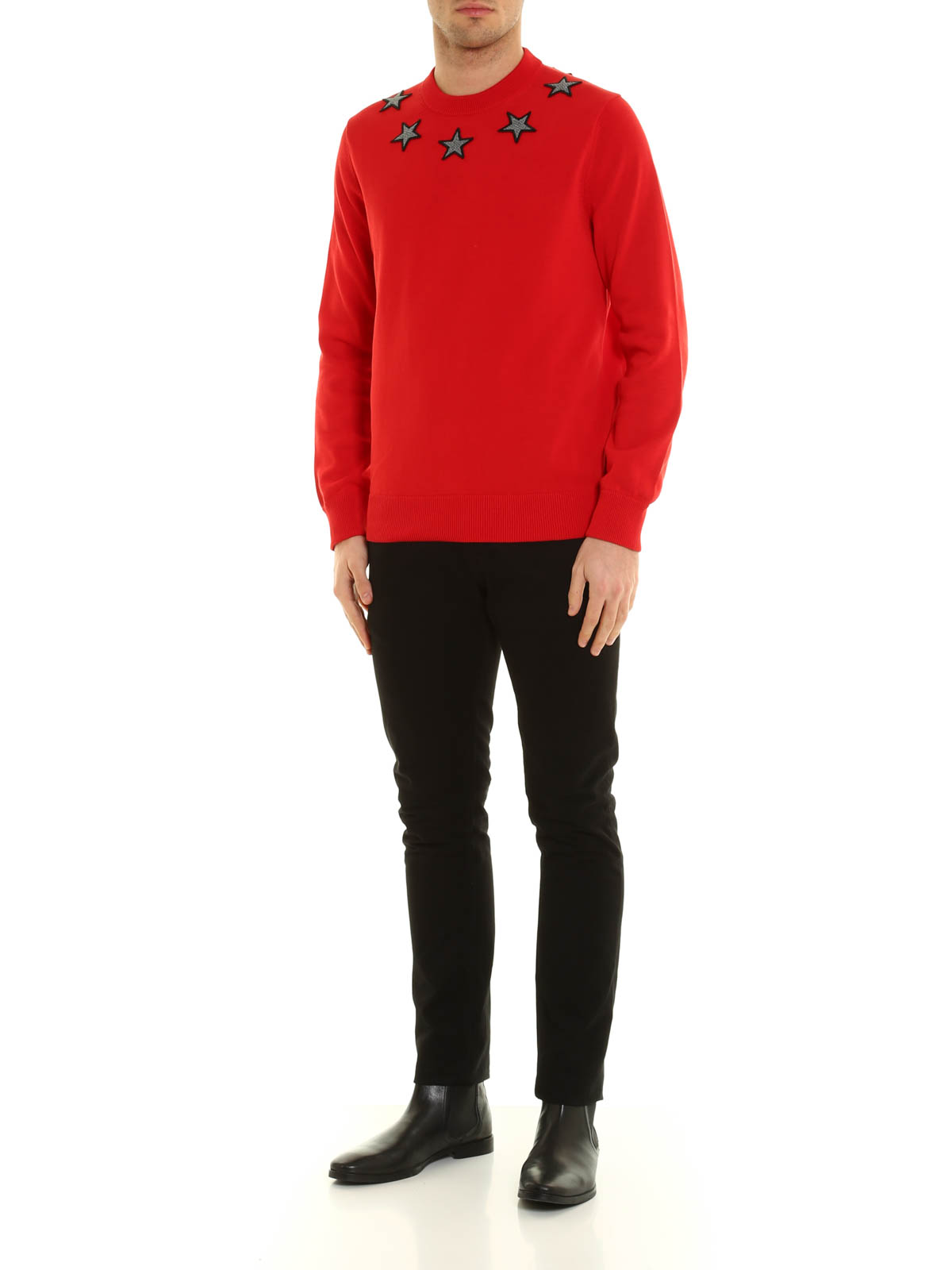 Givenchy Pull Col Rond Rouge Pour Homme Pull col rond
