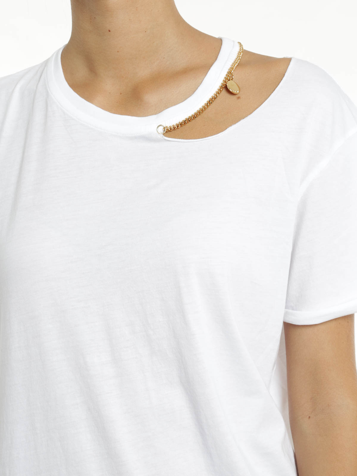 Cut out t shirt with chain trim by stella mccartney t for Stella mccartney t shirt