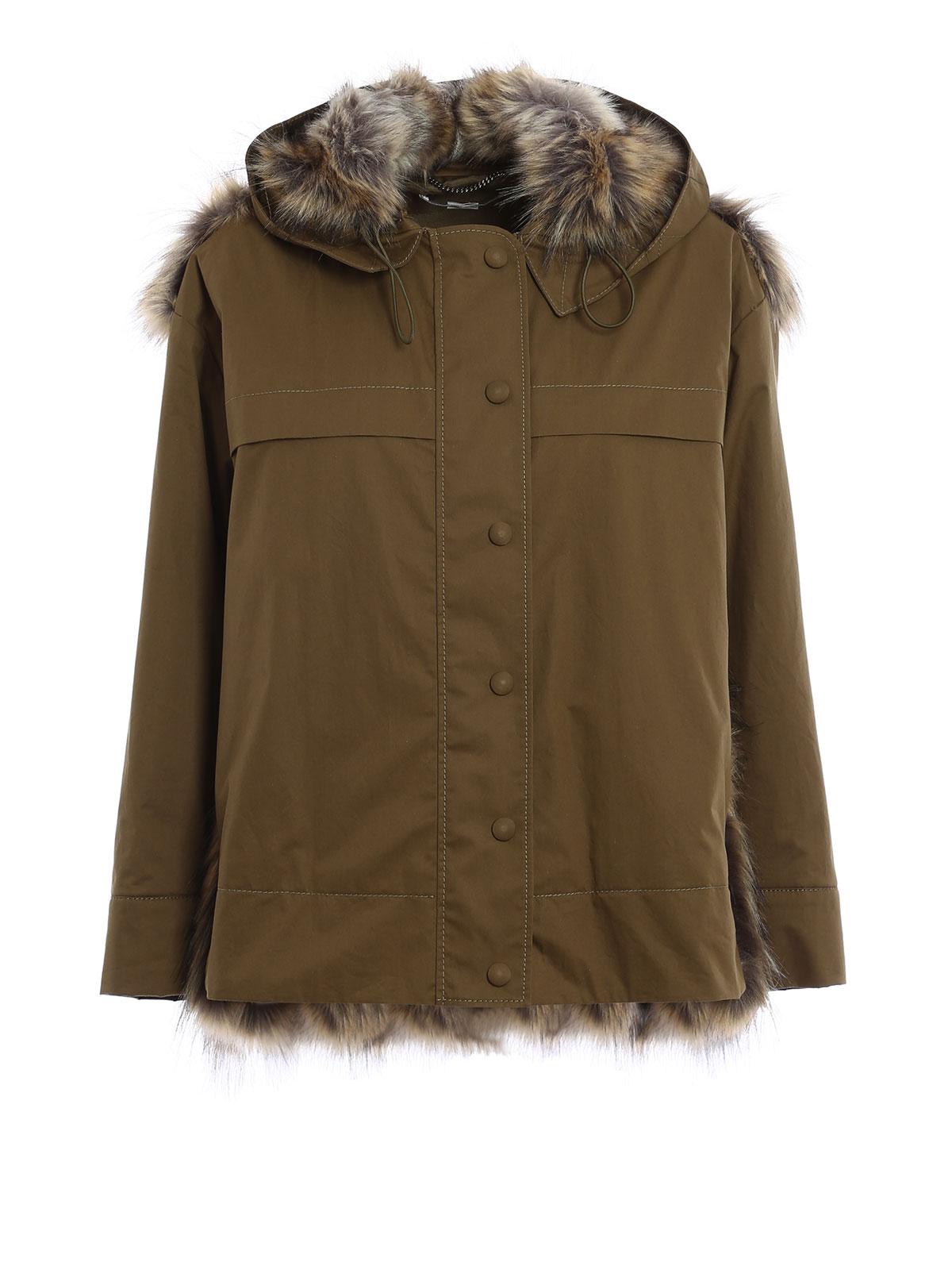 Stella Mccartney: casual jackets - Eco friendly fur panelled jacket