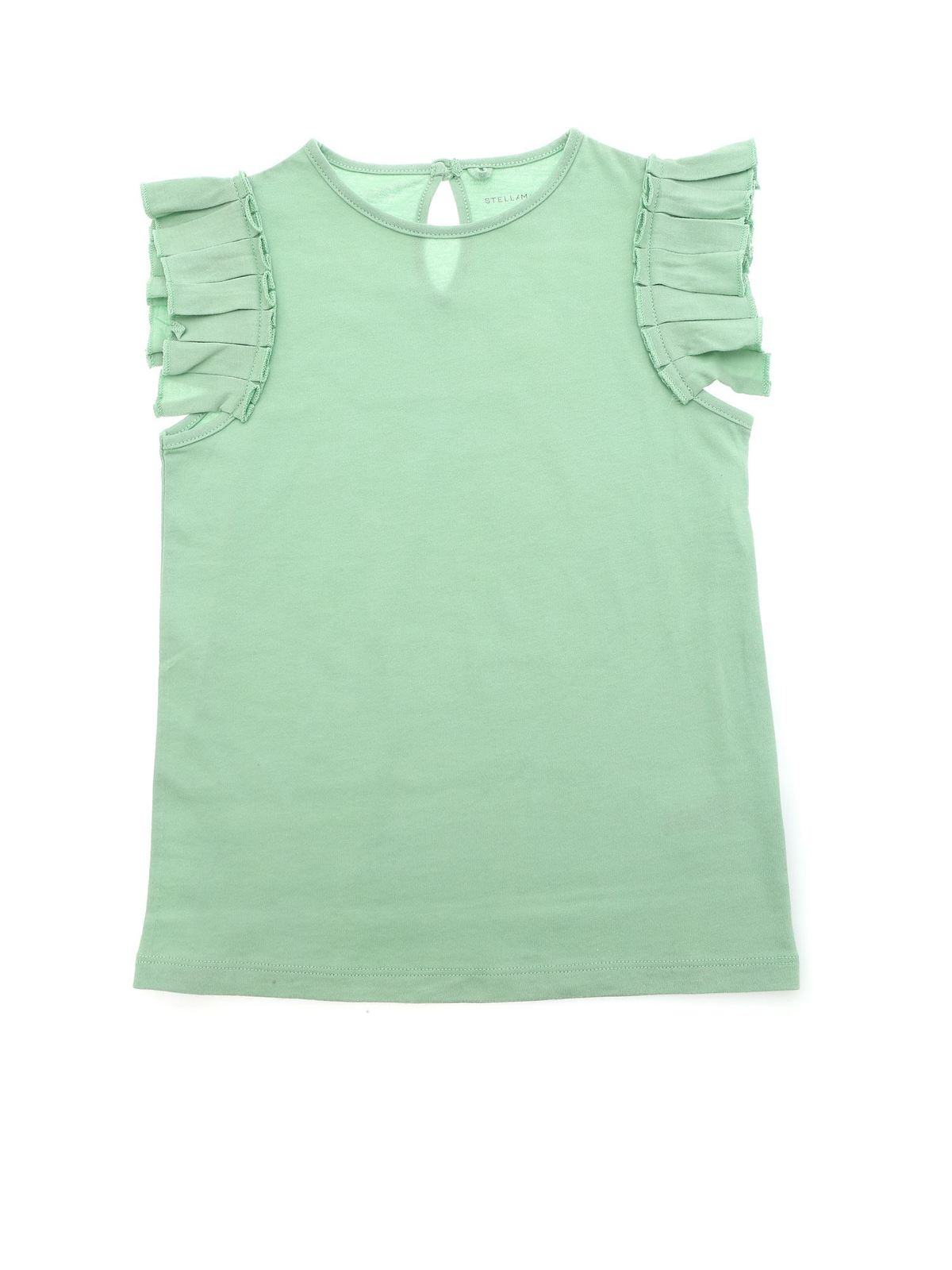 STELLA MCCARTNEY PLEATED RUFFLE TOP IN MINT GREEN