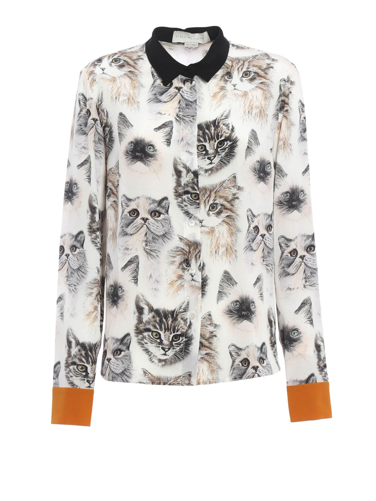 online store 862af 01eff Stella Mccartney - Camicia in seta con stampa gatti ...