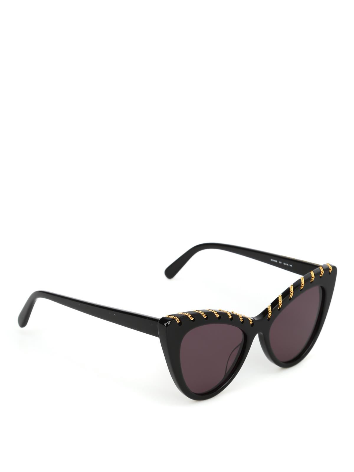 Ojo Gafas con dorada sol gato negro Stella de cadena de Mccartney qIScWxF1U