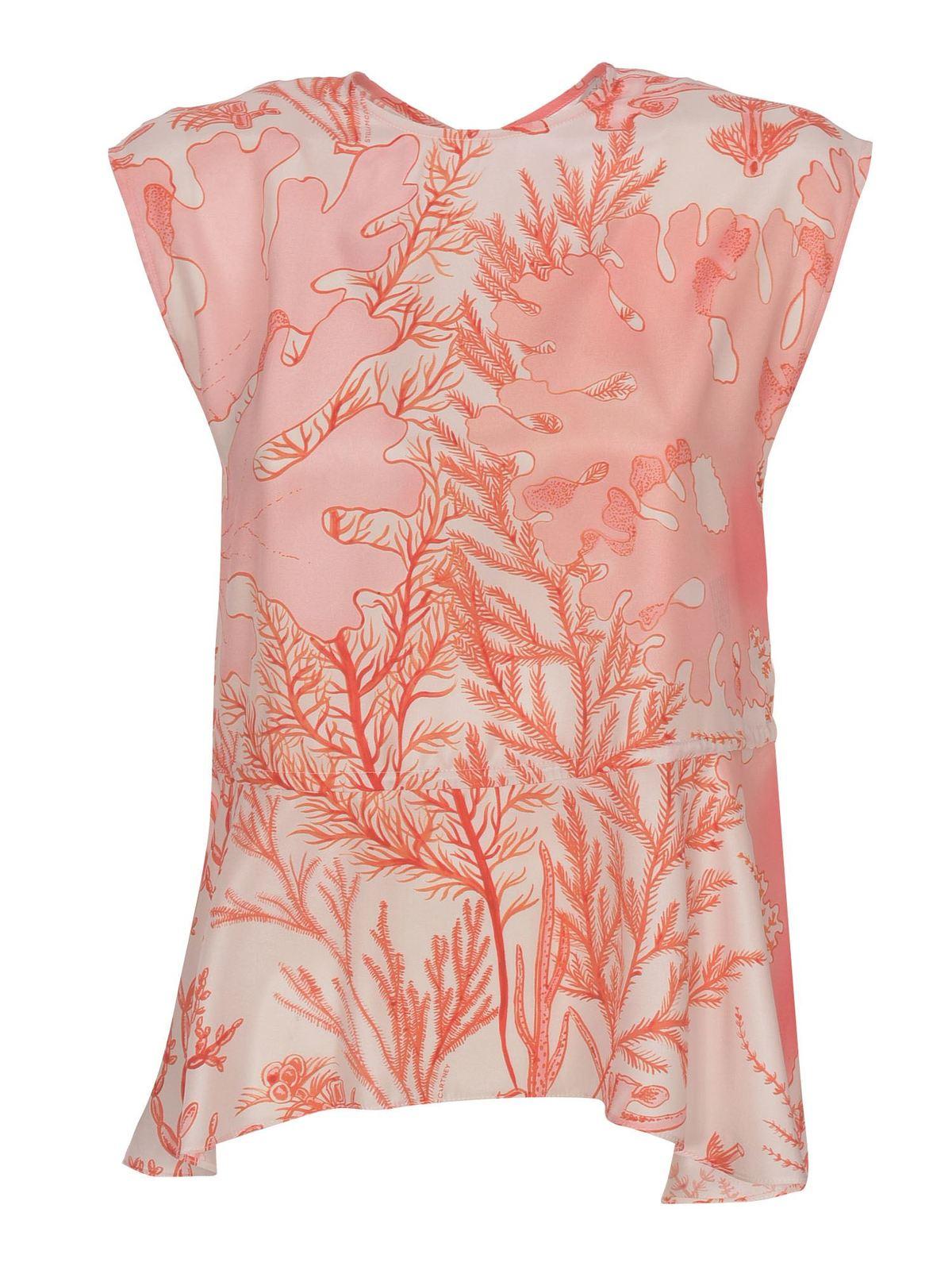 Stella Mccartney Clothing CORAL PRINT PEPLUM TOP IN PINK
