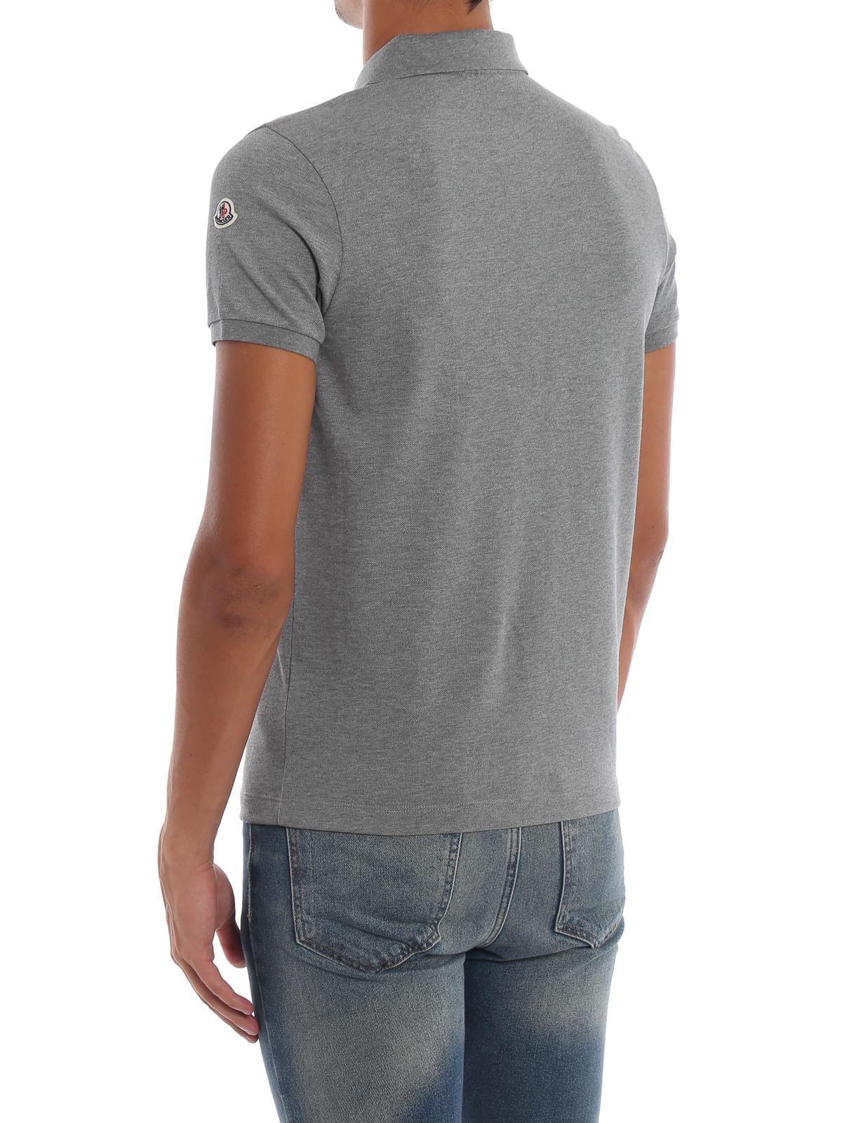 72ab7aa6b Moncler - Stone grey cotton polo shirt - polo shirts - D2 091 ...