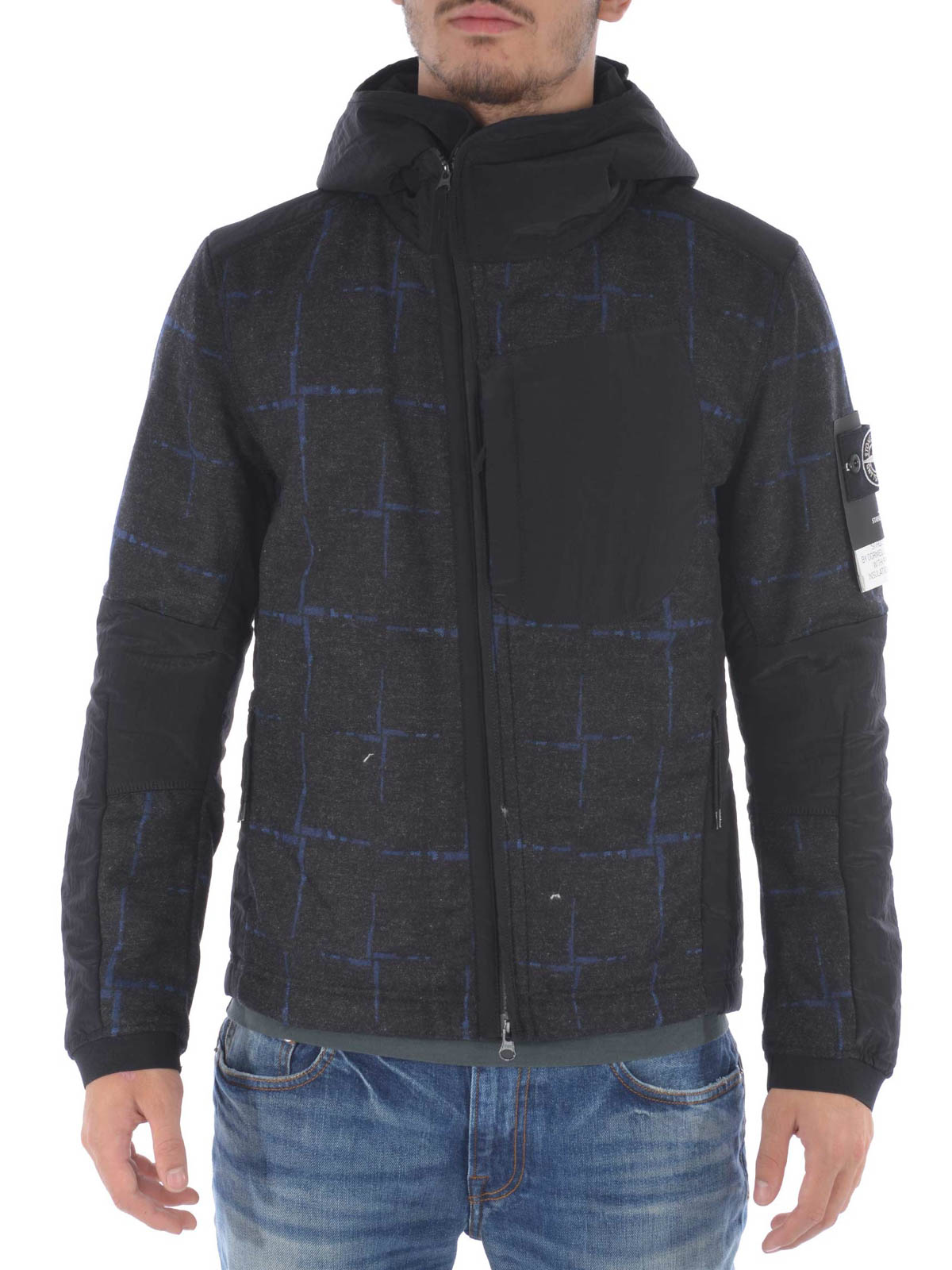 bomberjacke fur herren grau von stone island. Black Bedroom Furniture Sets. Home Design Ideas