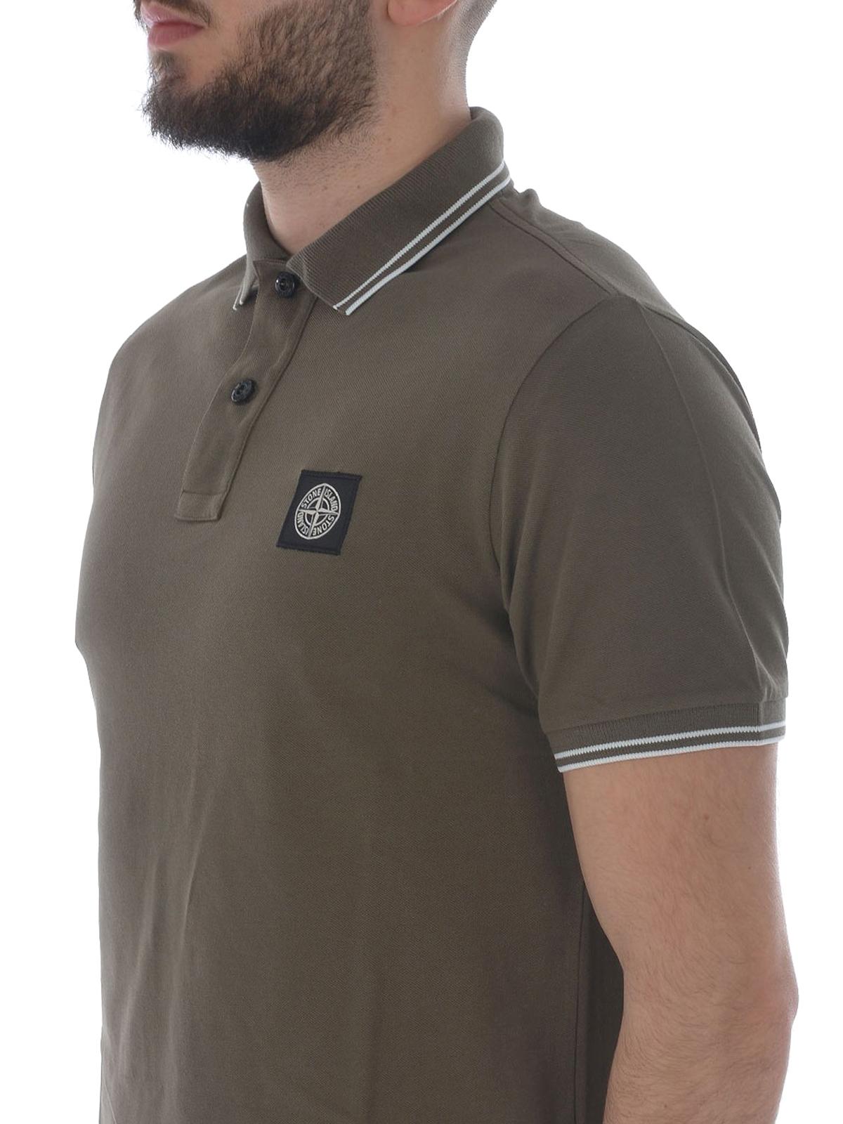 Stone Island Army Green Hue Stretch Polo Shirt Polo Shirts
