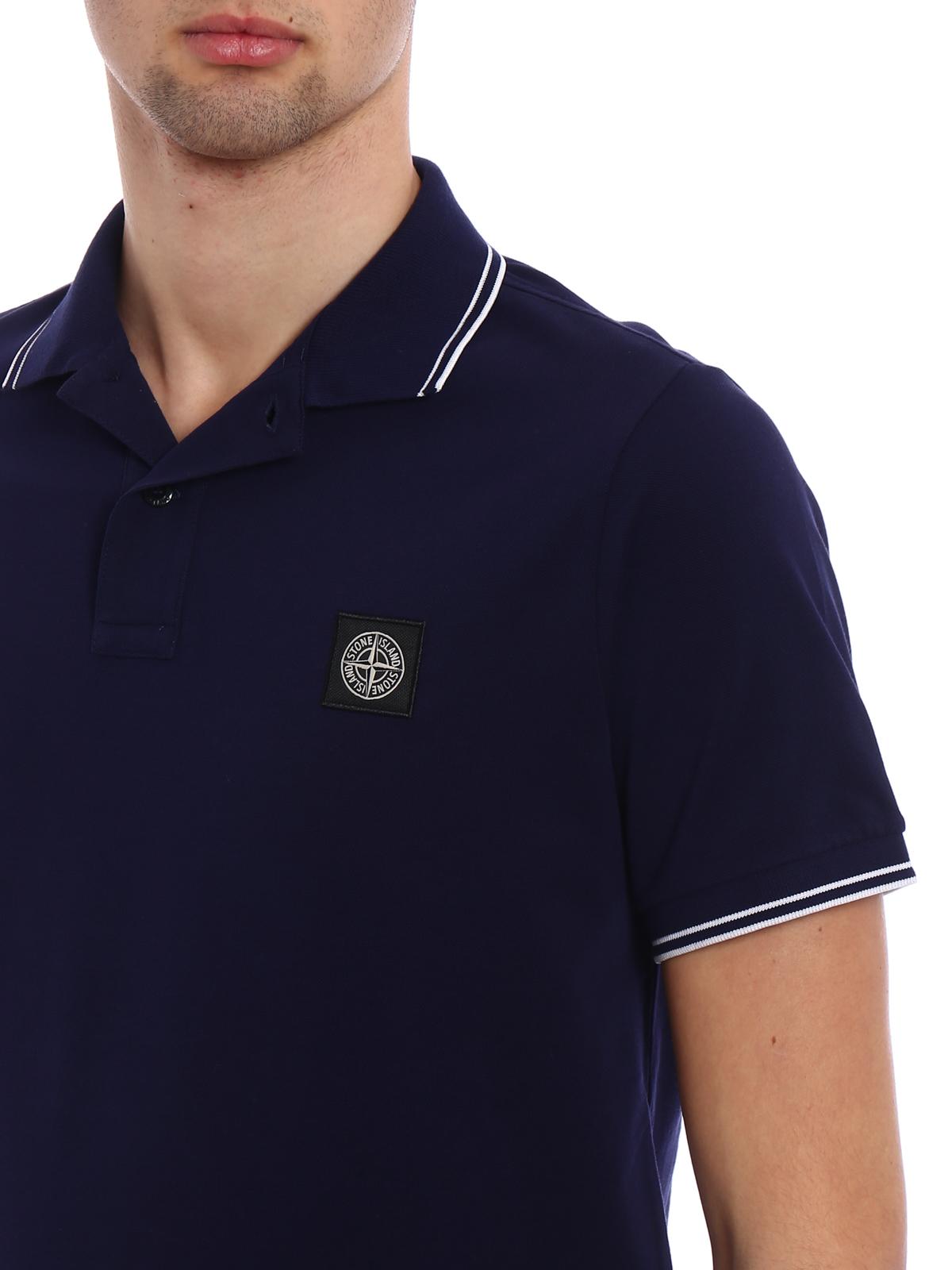 bdd84cc576f Stone Island - Blue slim fit polo shirt - polo shirts - 101522S18 V0026
