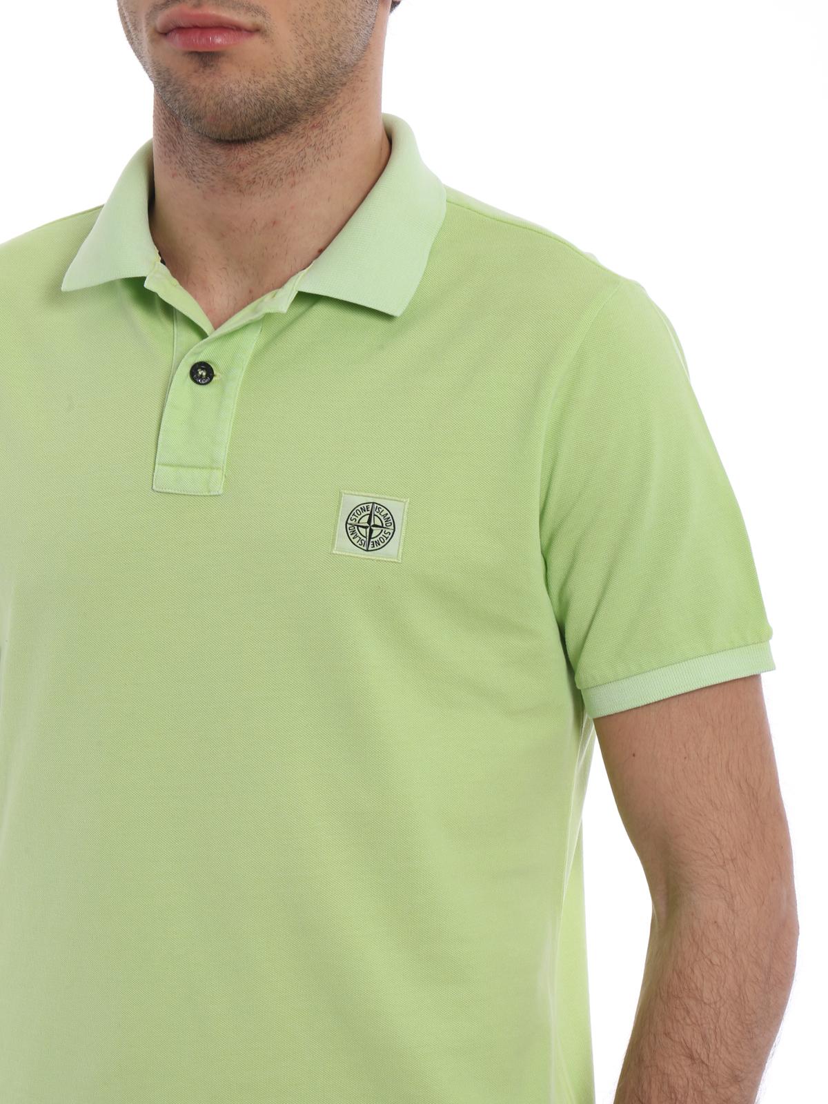 Stone Island Light Green Slim Fit Polo Shirt Polo Shirts