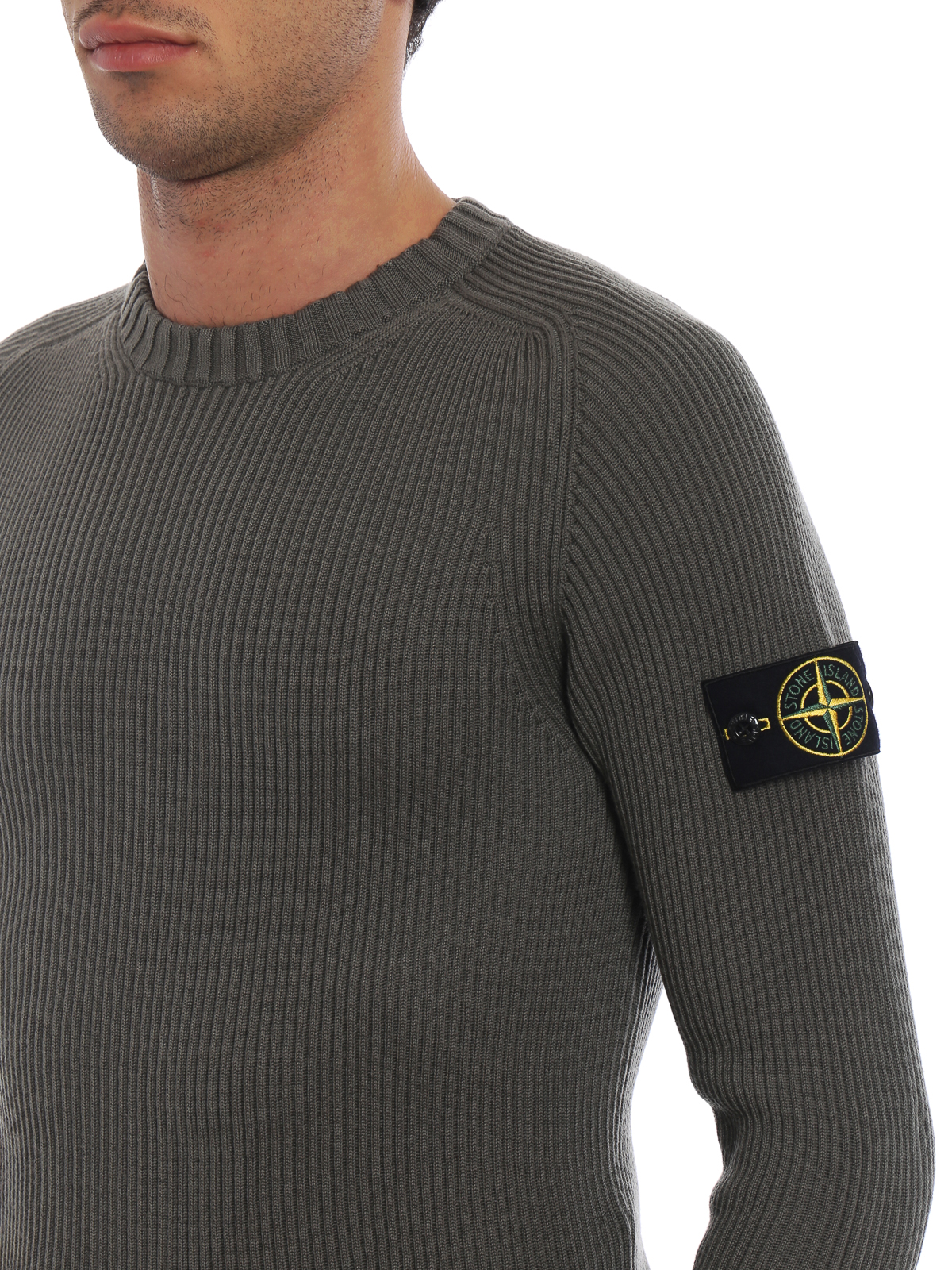 9d24d08dc Stone Island - Olive green ribbed wool sweater - crew necks ...