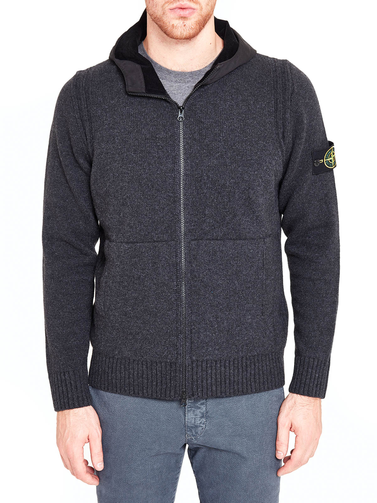 Hooded wool cardigan by Stone Island - cardigans | iKRIX