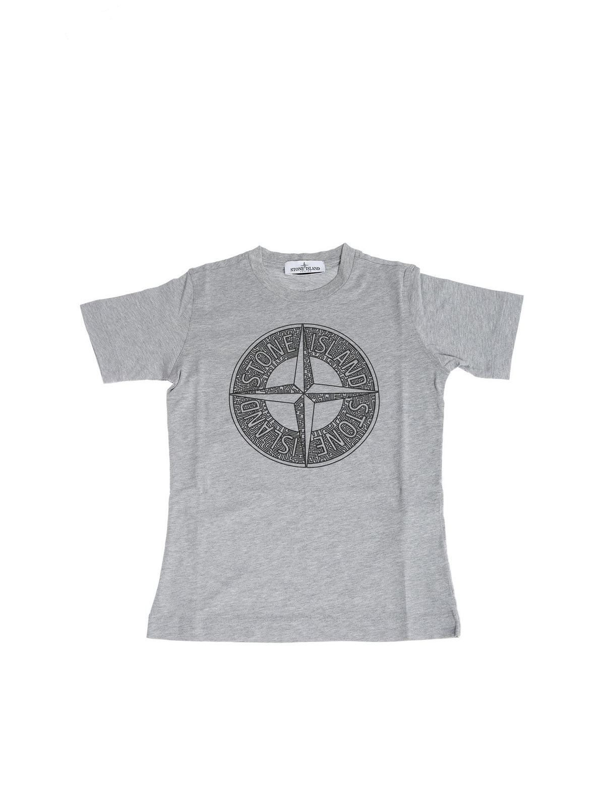 Stone Island Junior Dark Grey Printed Logo T-Shirt