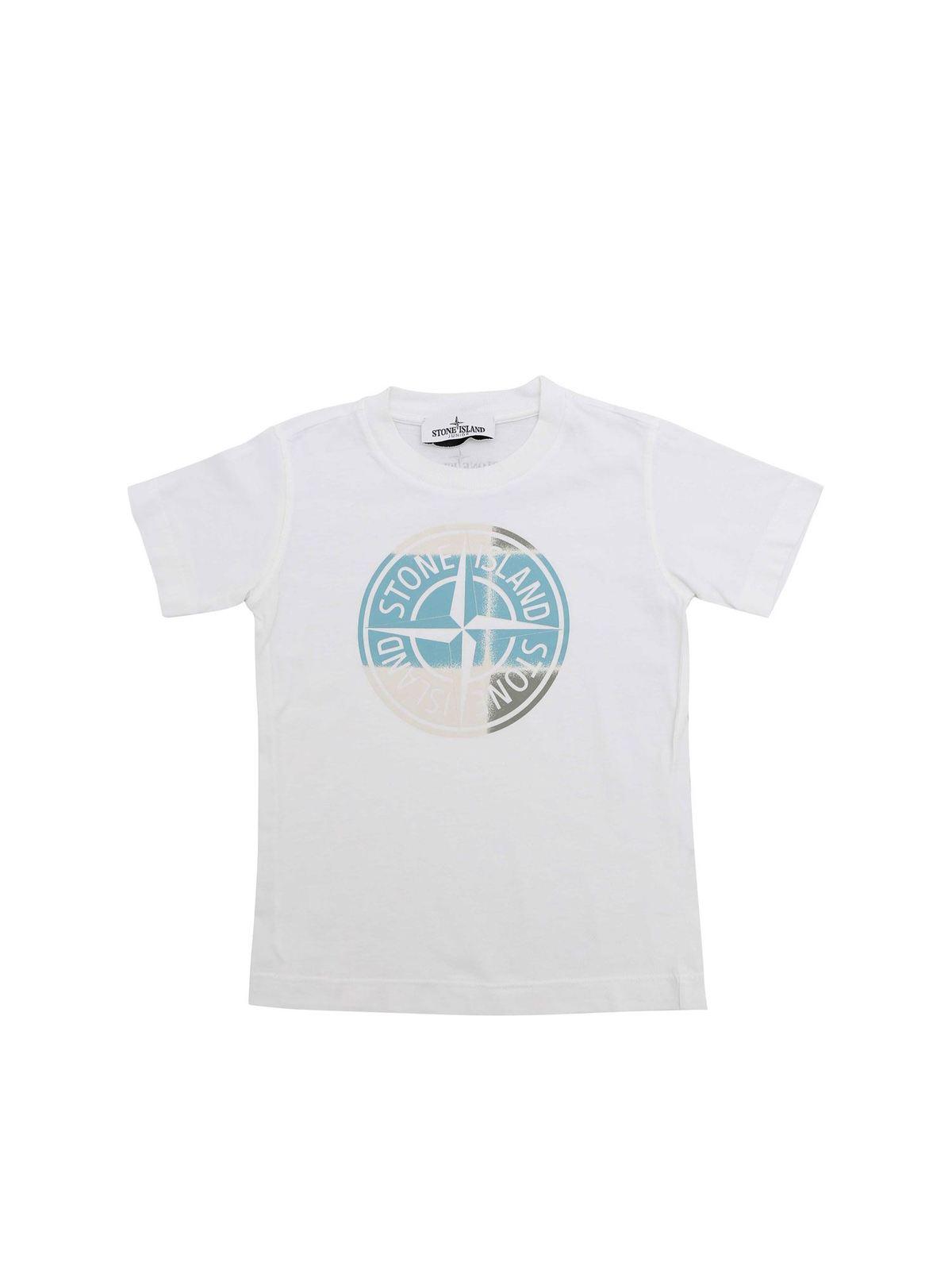 Stone Island Junior LOGO PRINT T-SHIRT IN WHITE