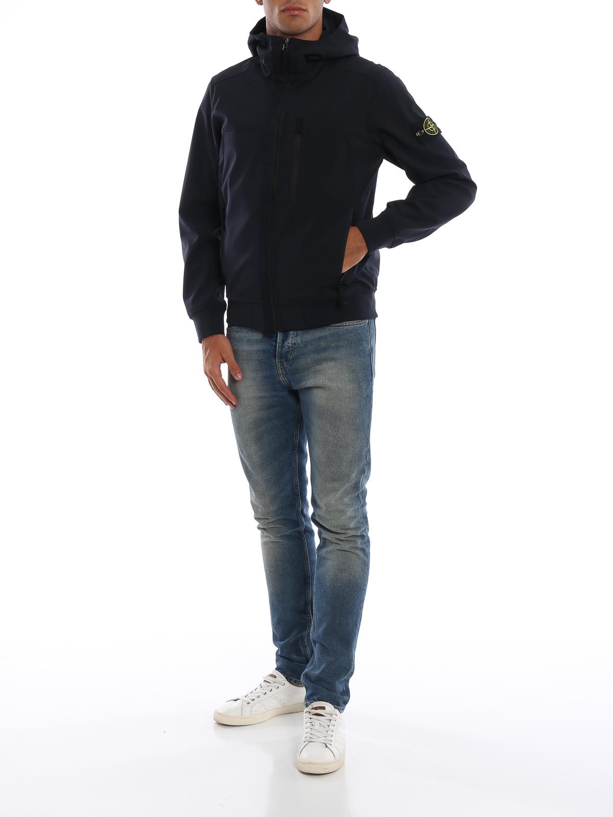 d77e9cfddf82d STONE ISLAND: casual jackets online - Dark blue Soft Shell-R hooded jacket