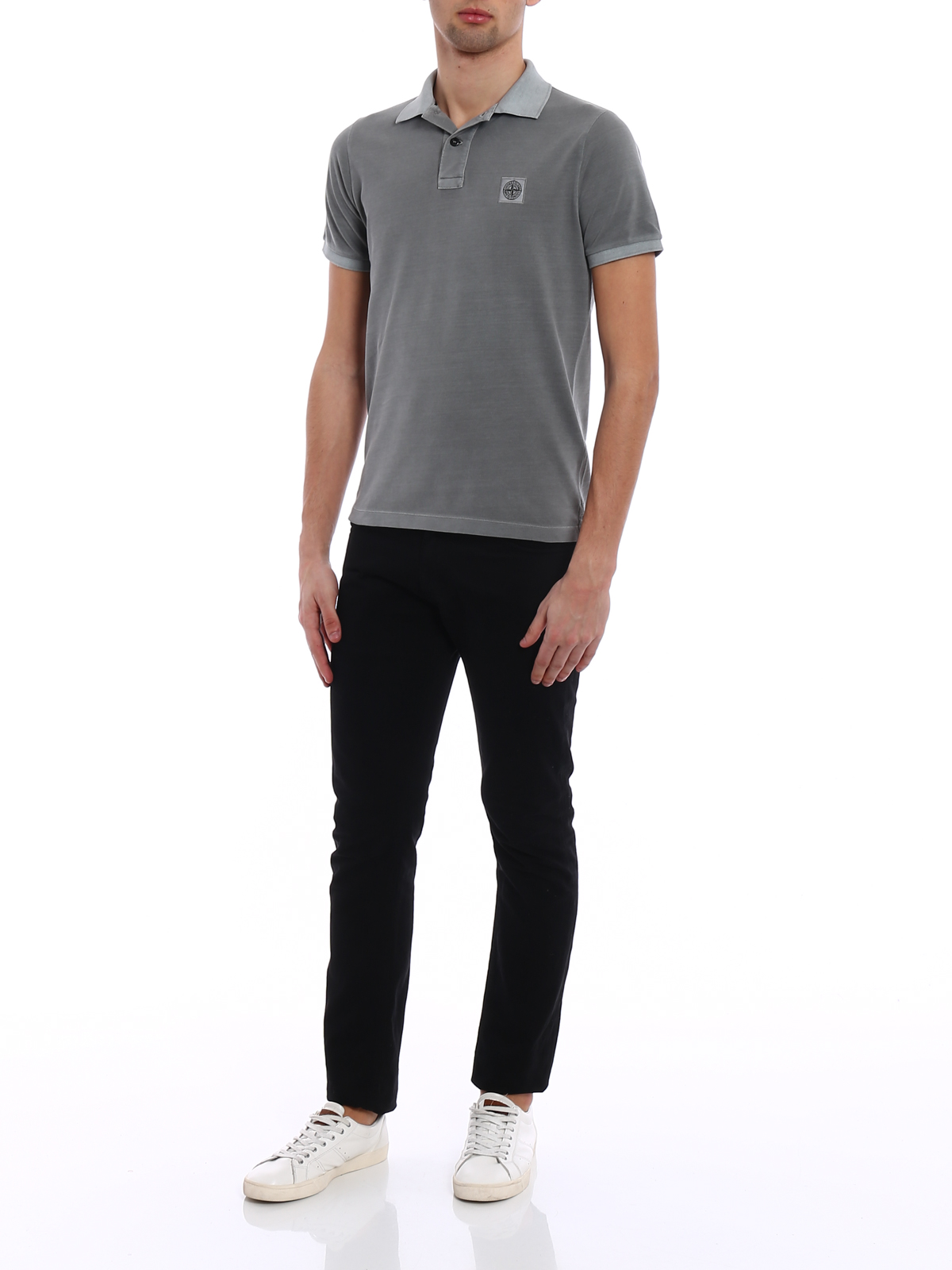1f0130e91 STONE ISLAND  polo shirts online - Garment dyed grey slim fit polo