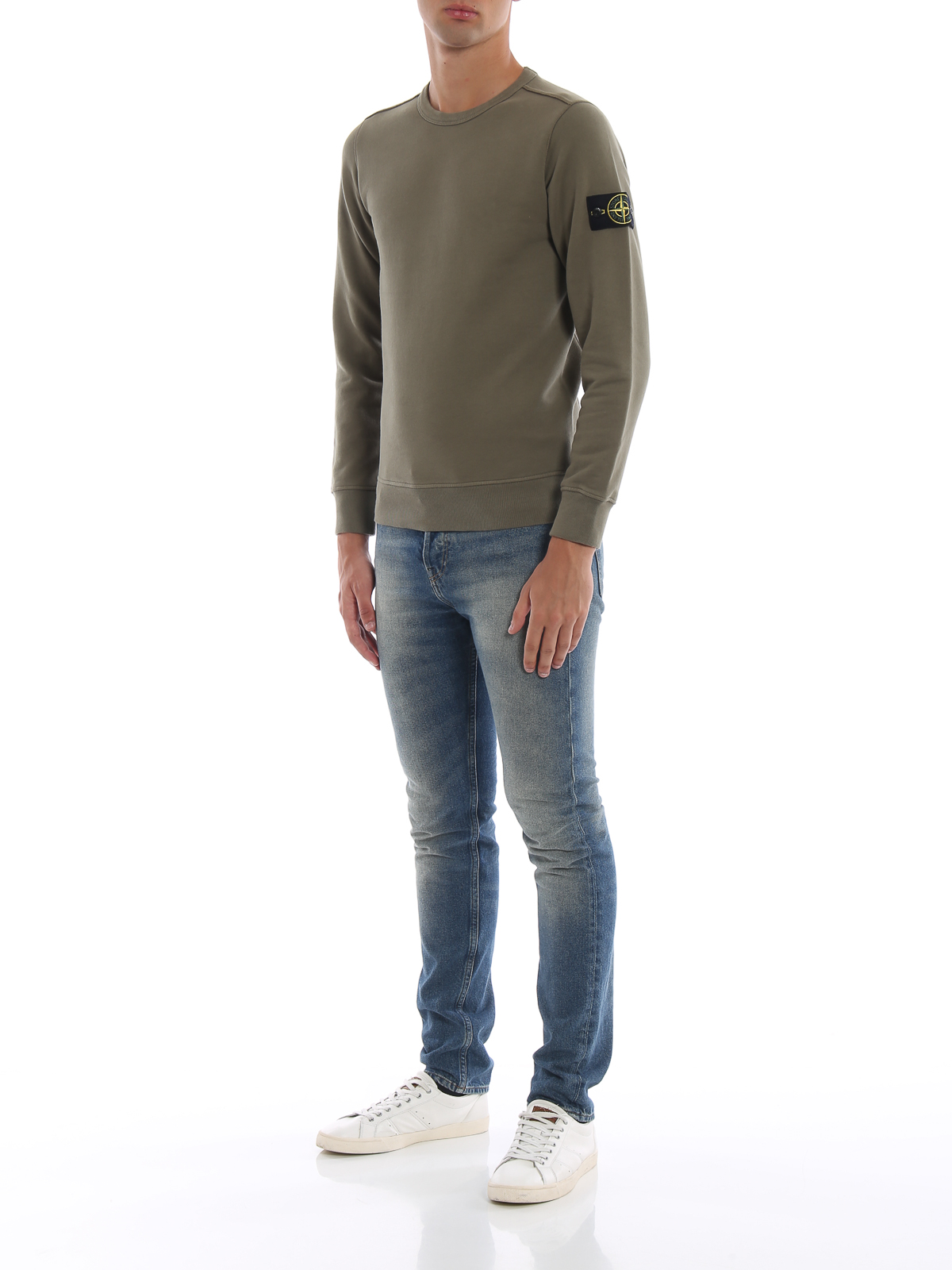 die beste Einstellung 5852a 64ac9 Stone Island - Olive cotton fleece crewneck sweatshirt ...