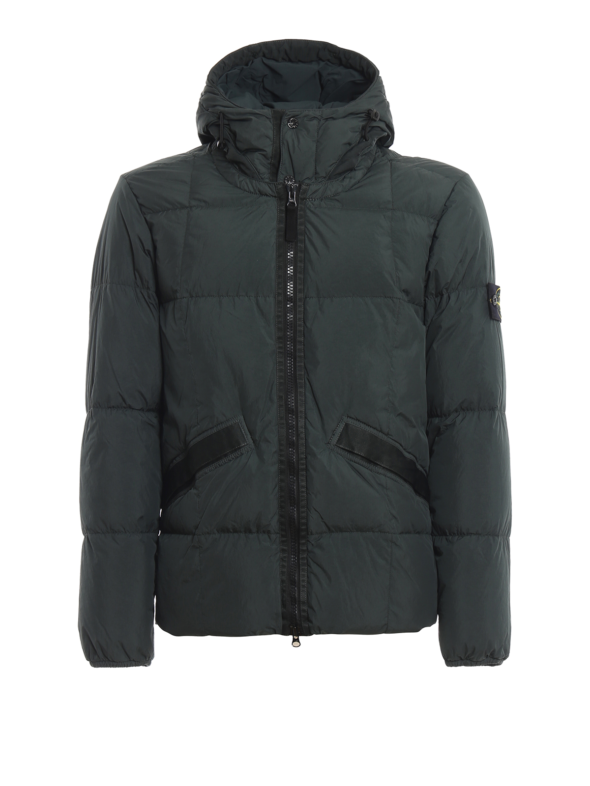 804a6c717 Crinkle Reps Nylon Garment Dyed Puffer Jacket in Dark Green