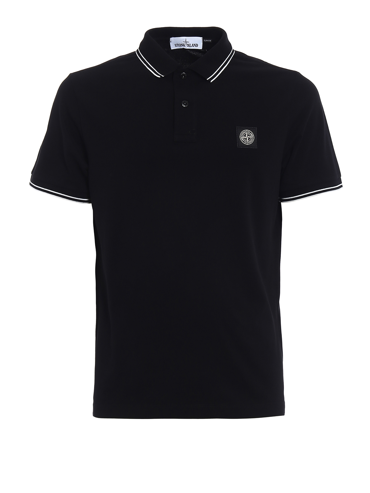 Black slim fit polo shirt by stone island polo shirts for Black fitted polo shirt