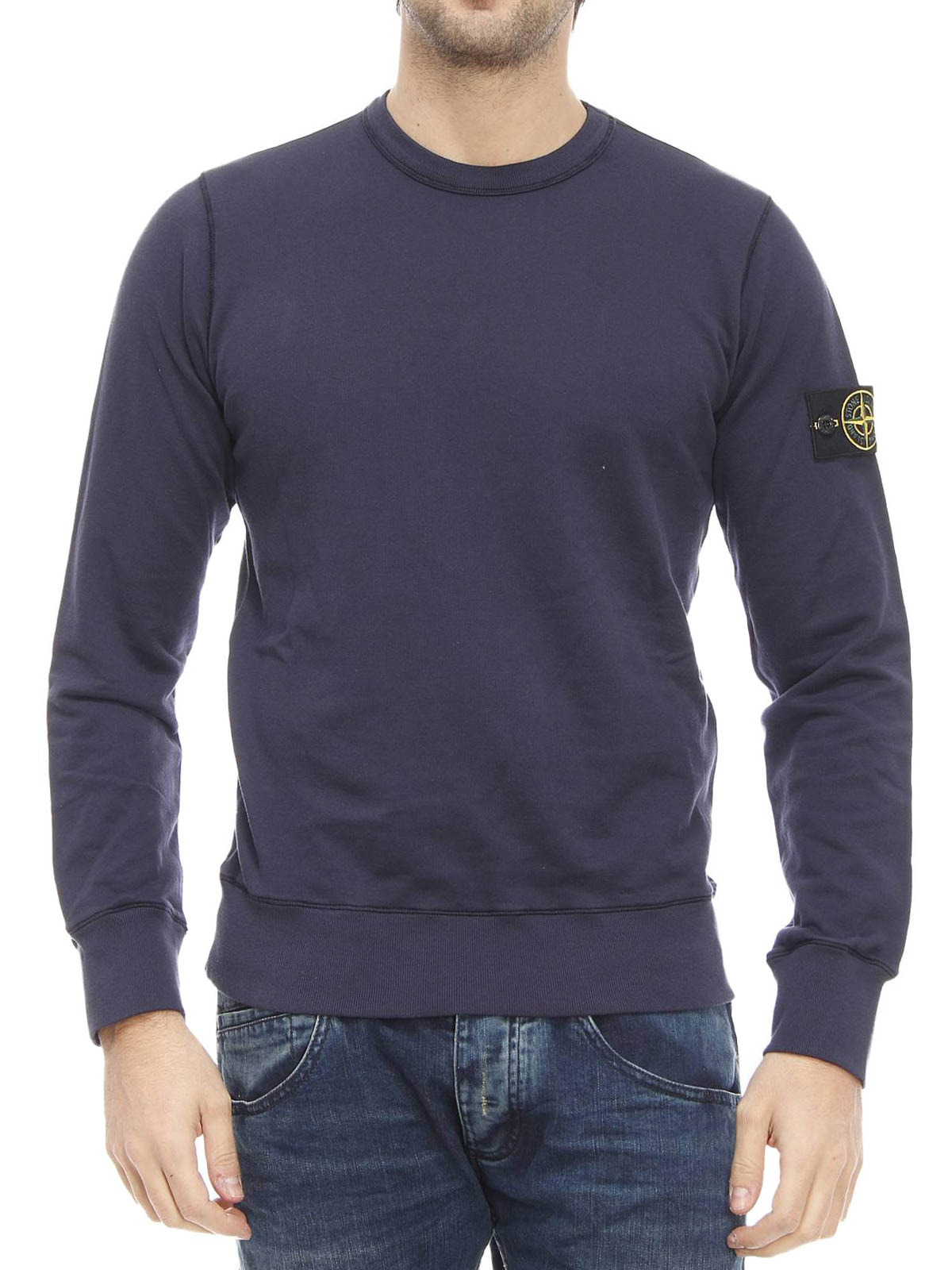 cotton fleece sweatshirt by stone island sweatshirts. Black Bedroom Furniture Sets. Home Design Ideas