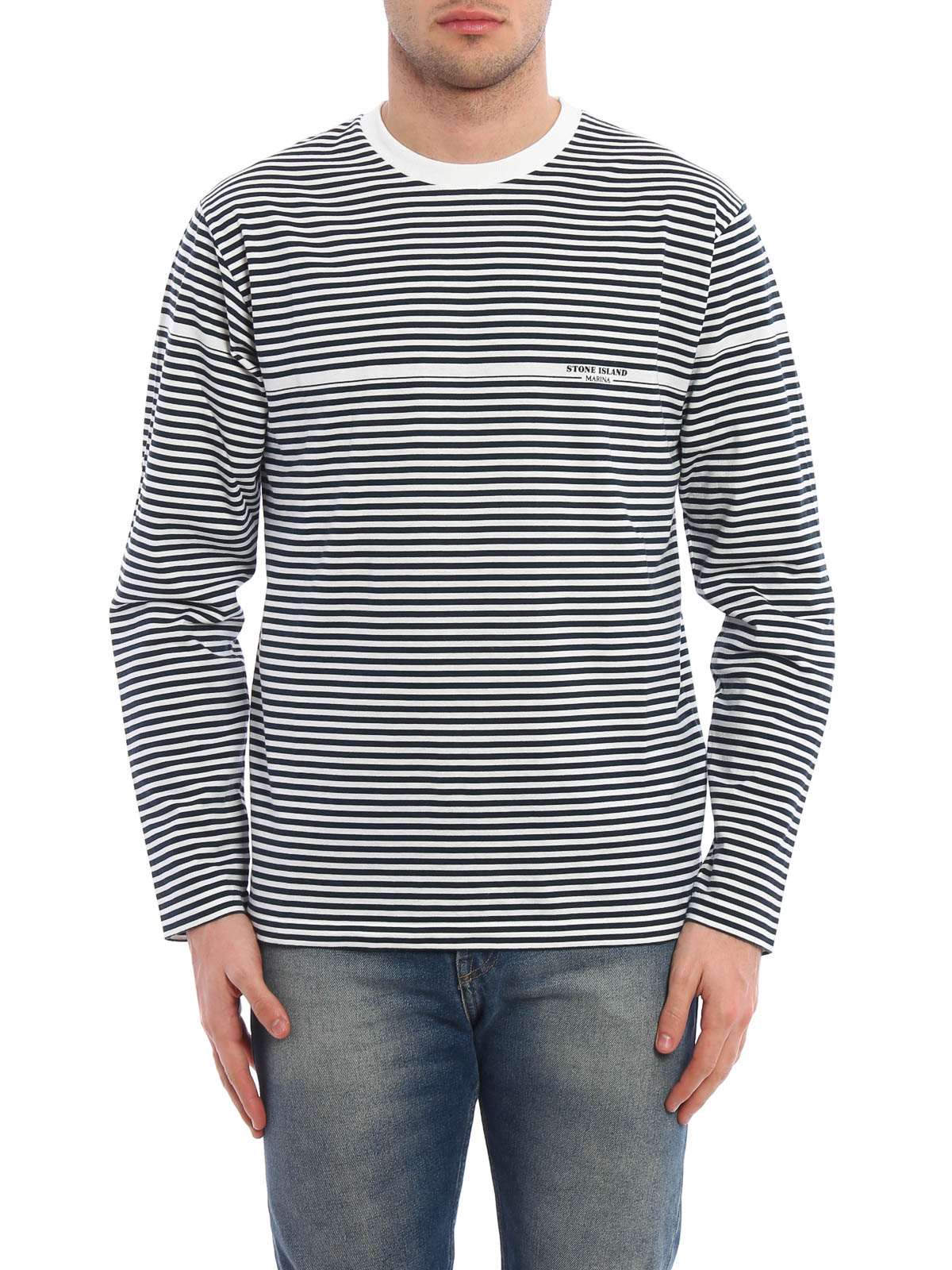 Long sleeved striped cotton t shirt by stone island t for Long sleeve cotton tee shirts