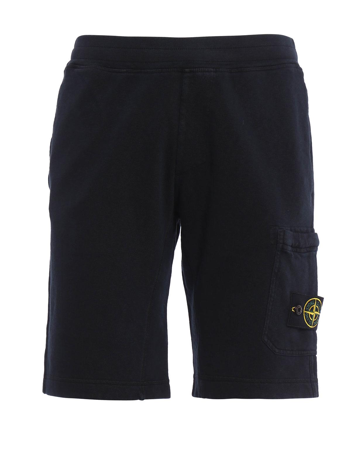 cotton fleece bermuda by stone island trousers shorts. Black Bedroom Furniture Sets. Home Design Ideas
