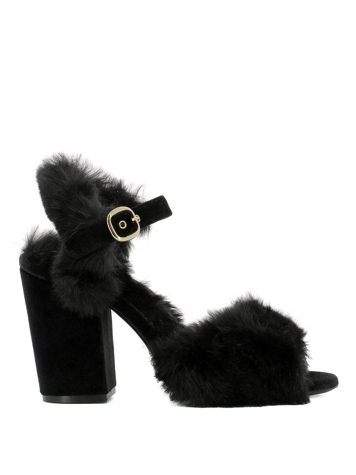 da9efe43cb1 Strategia - Black fur heeled sandals - sandals - A3318PELLENERO