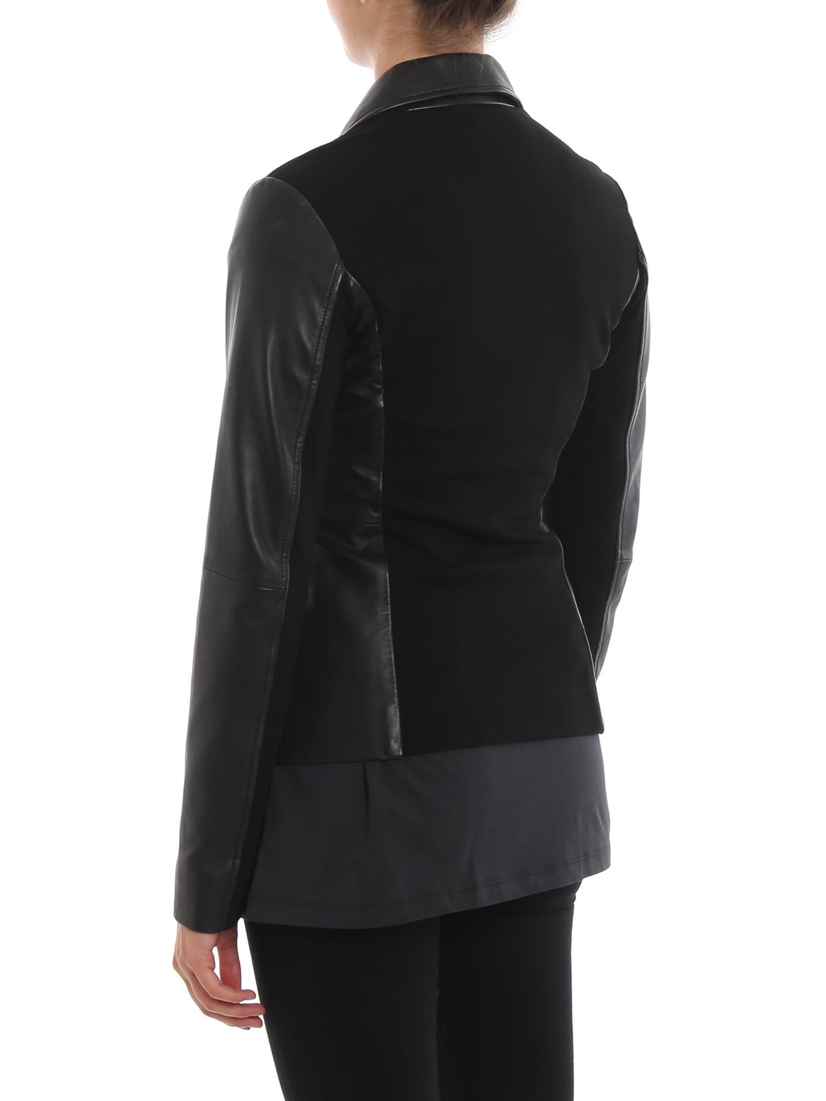 release date: 3d56e 65000 Pinko - Giacca Stravedere in pelle e tecnotessuto - giacche ...