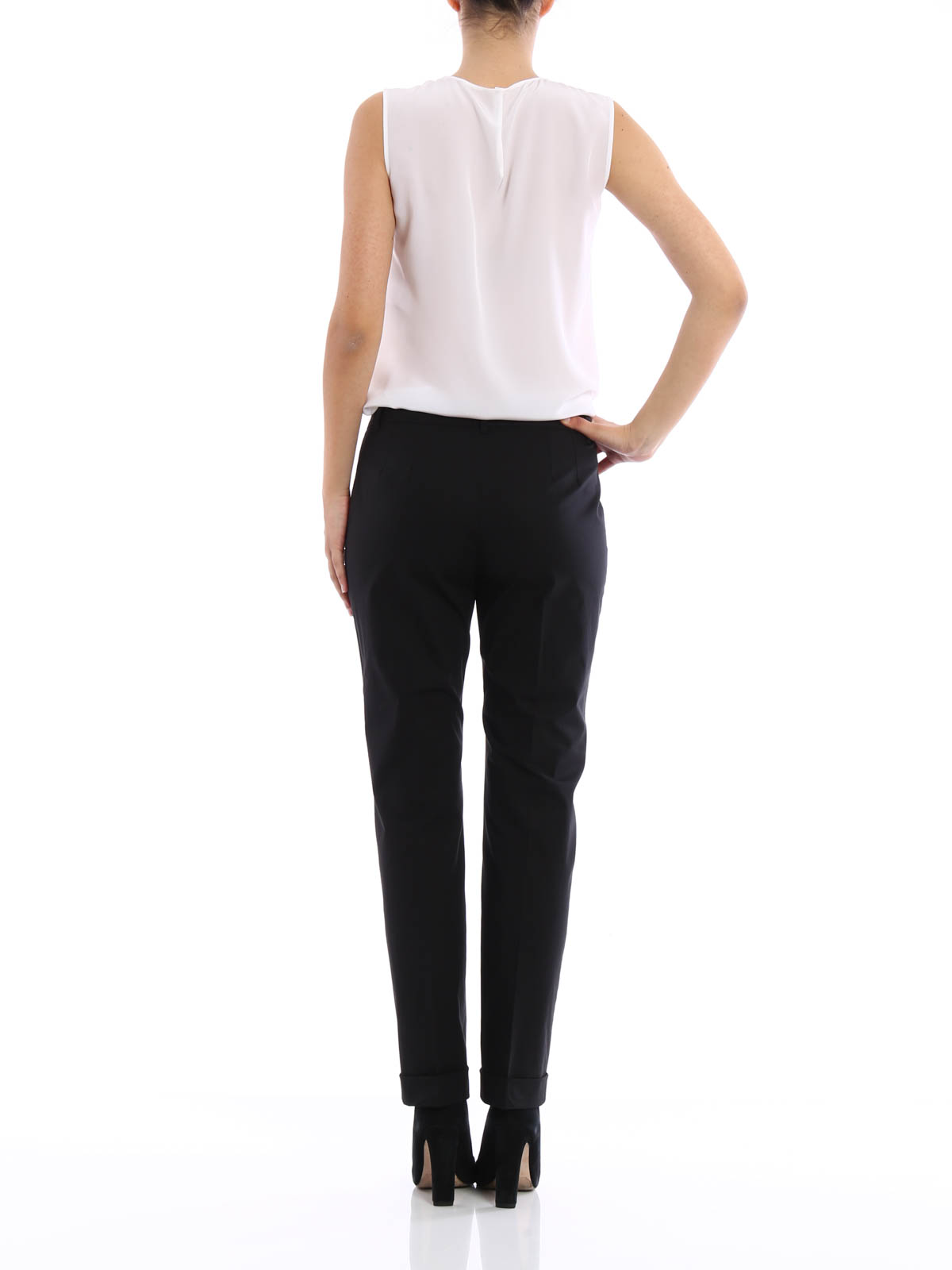 Simple Details About Womens PU Belted Cotton Cigarette Trousers Stretch Jeans