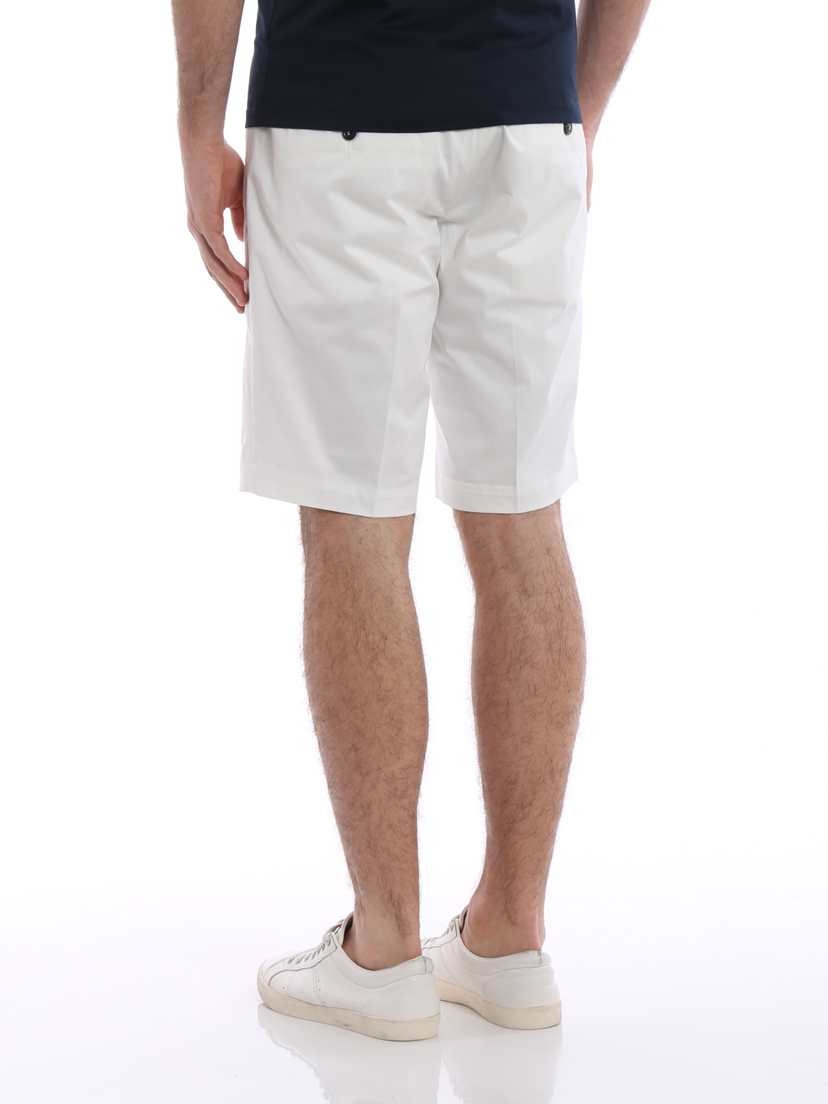 Stretch cotton white short trousers shop online: MONCLER