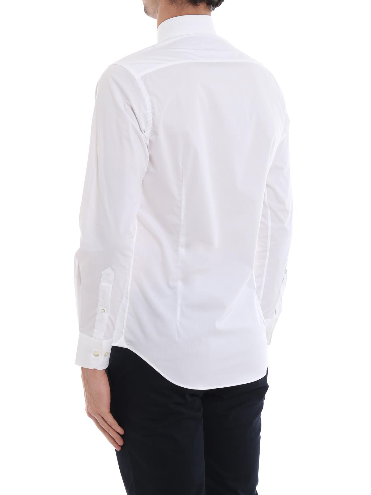 1d8c463d56 Etro - Camicia bianca b/d in cotone stretch con logo - camicie ...