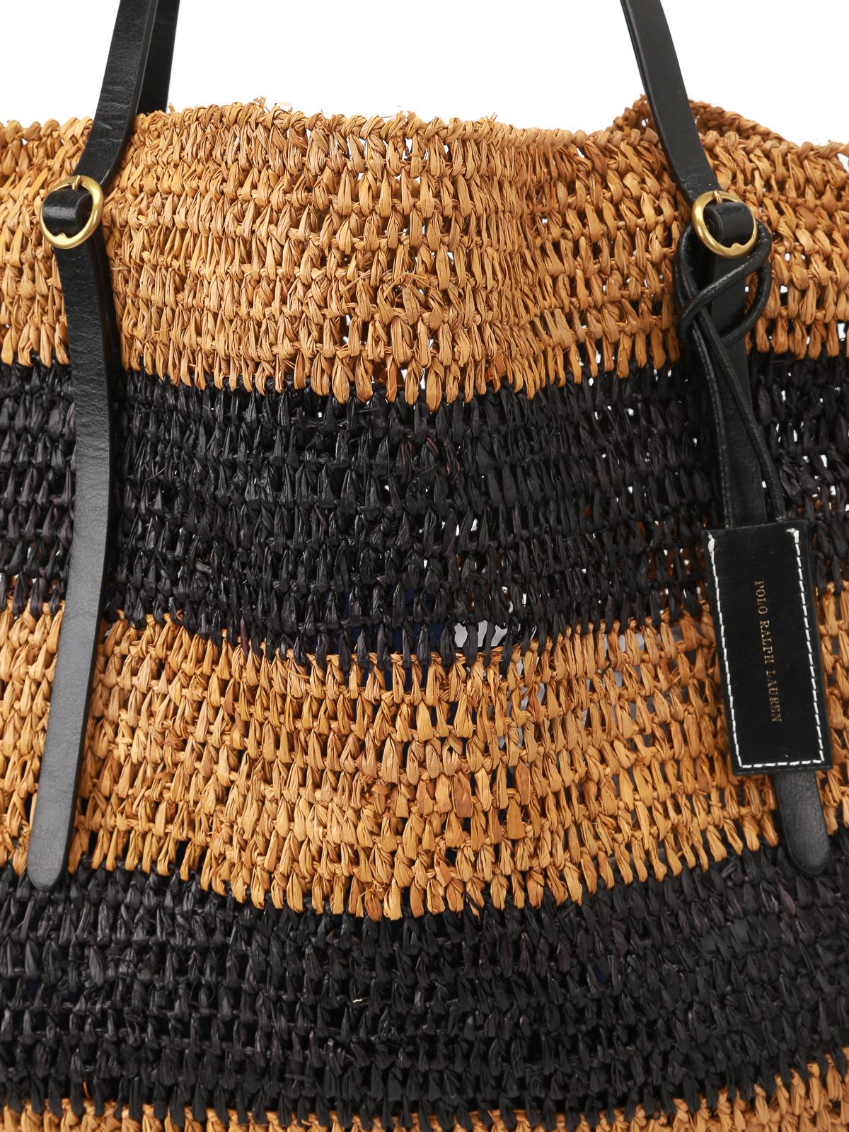 Bolso de mujer Polo Ralph Lauren rafia saco beige · Polo