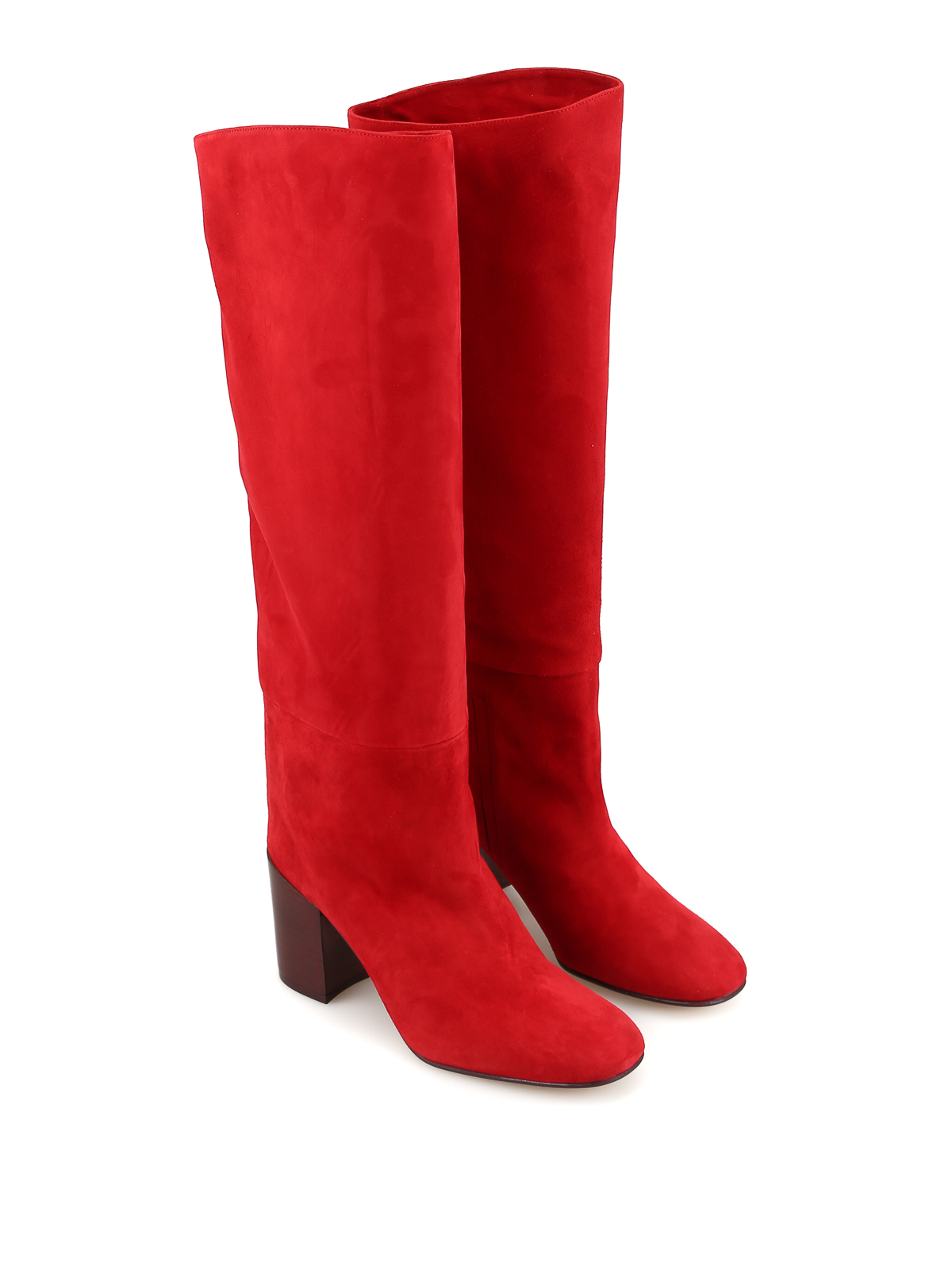 Tubo to-the-knee red suede boots