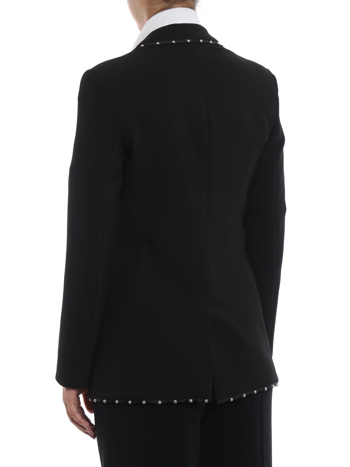 41850295701c Giacca nera in cady a un bottone con borchie shop online: EMPORIO ARMANI