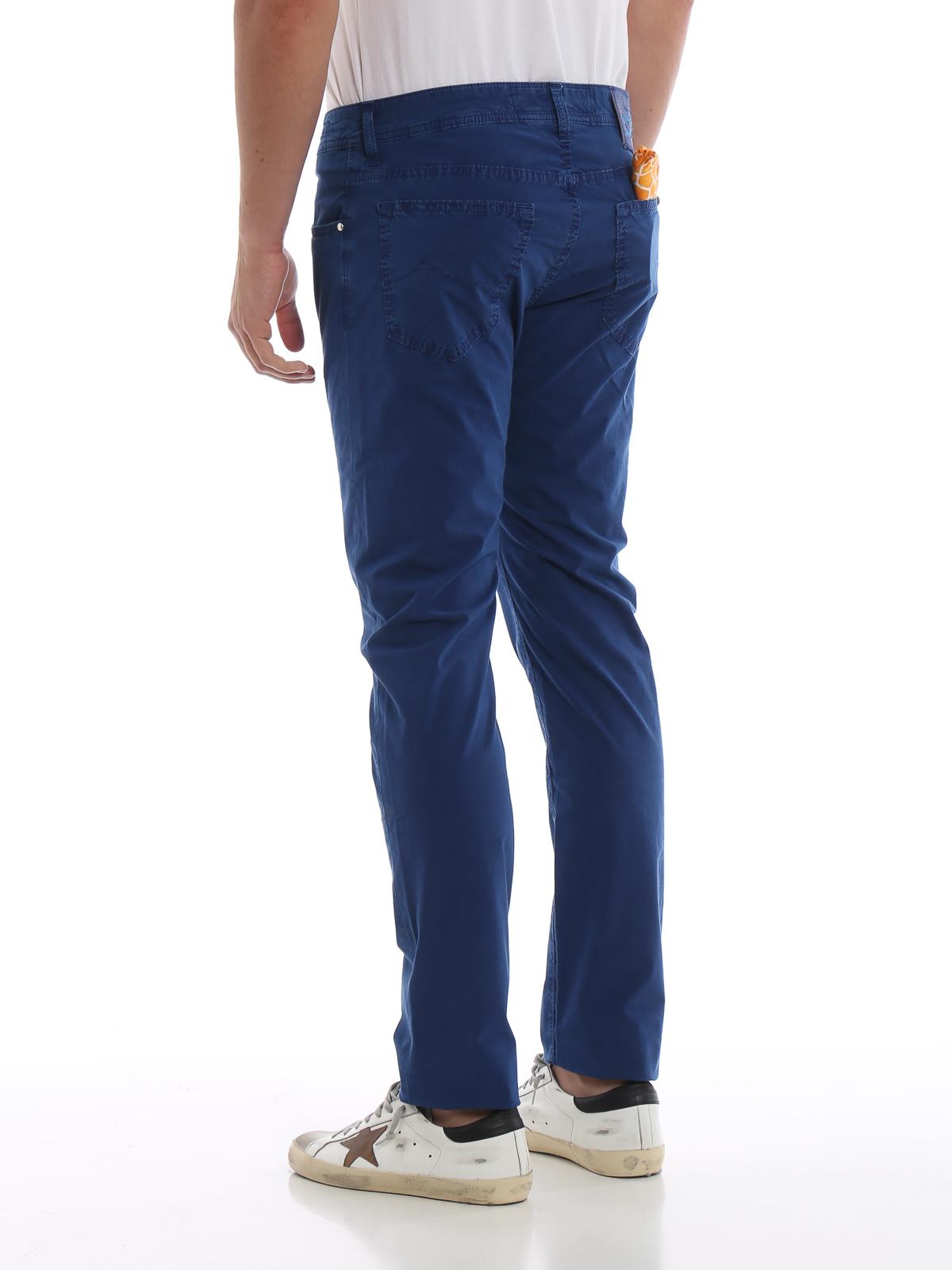 pantalone uomo slim cotone stretch tinto capo fashion moda MADE ITALY prezzo blu