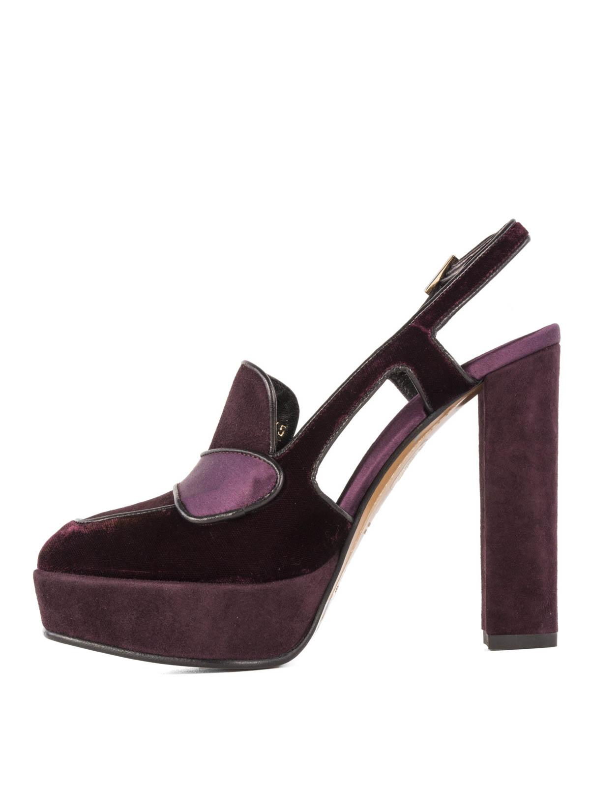 8bd5dd036294 Etro - Suede and velvet platform shoes - court shoes - 133452599400