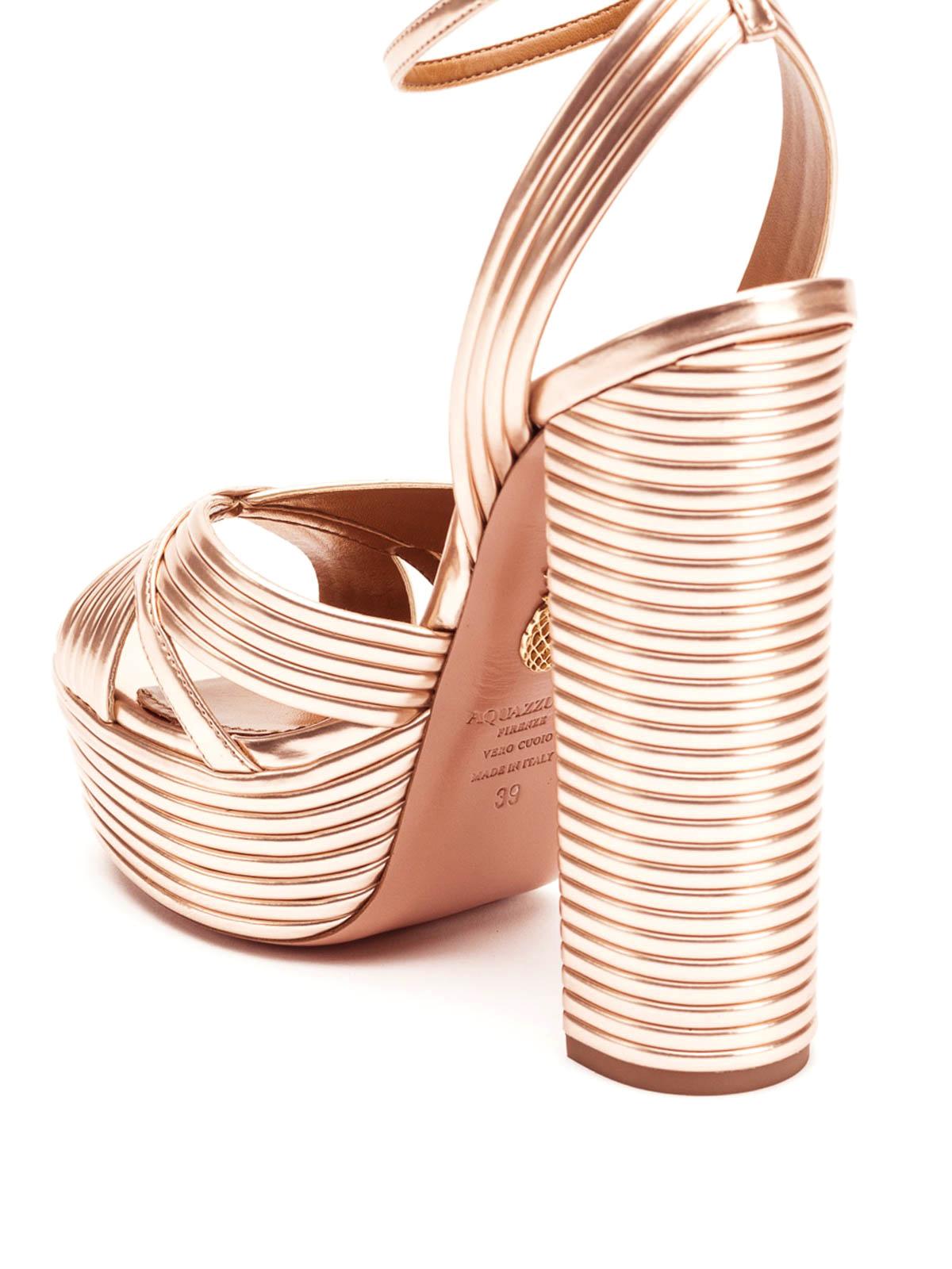 bbcb94af8d Aquazzura - Sundance metallic leather platform sandals - sandals ...