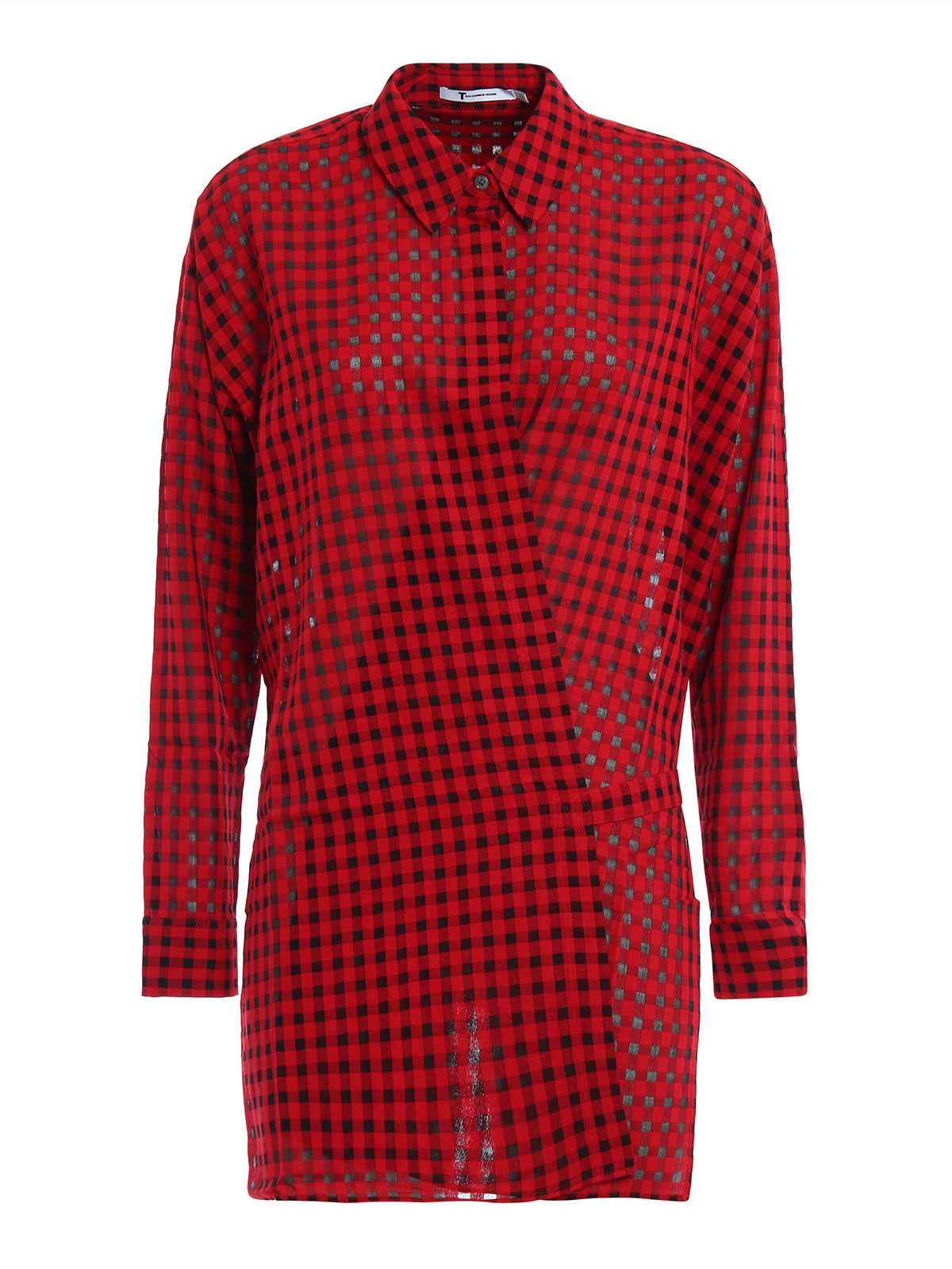 Checkered wrap shirt by t by alexander wang shirts ikrix for Alexander wang t shirts