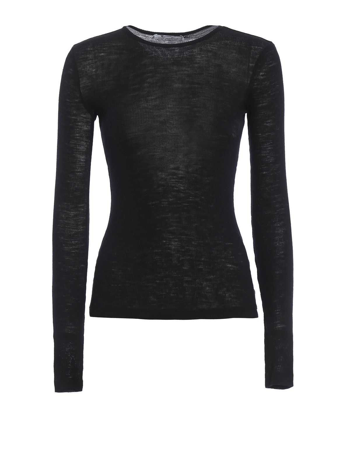 Long Sleeve Ribbed Wool Jersey Top By T By Alexander Wang