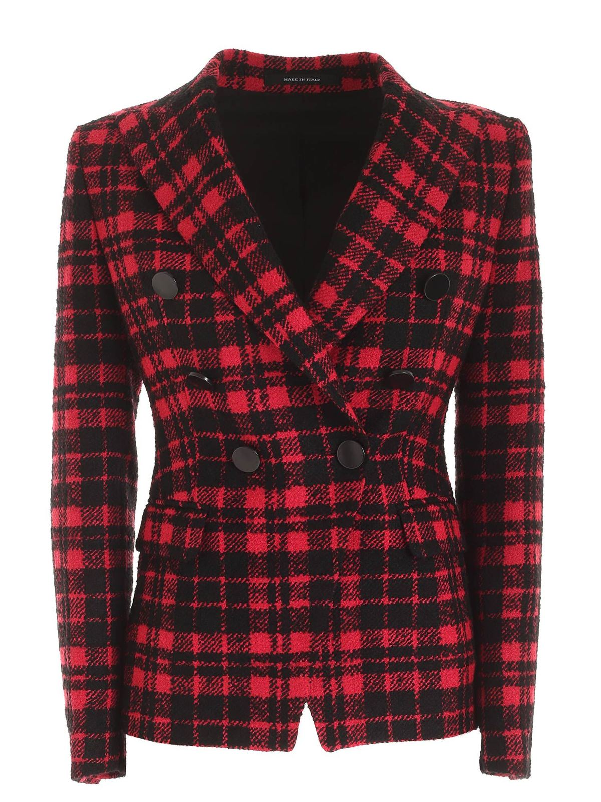 Tagliatore ALICYA CHECKED JACKET IN BLACK AND FUCHSIA
