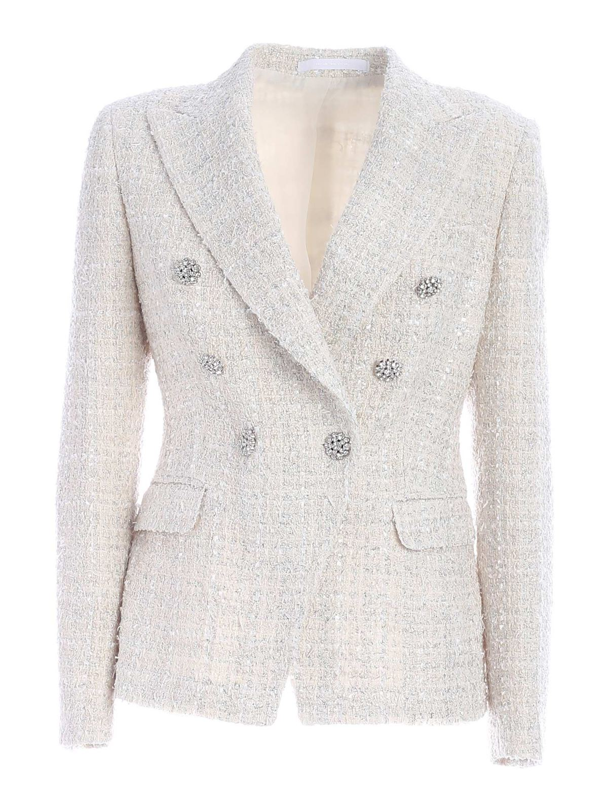 Tagliatore DOUBLE-BREASTED BOUCLE JACKET IN ECRU COLOR