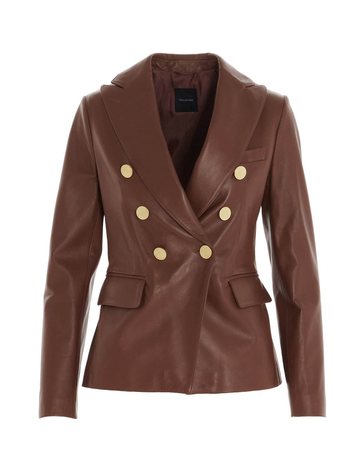 Tagliatore LIZZIE LEATHER BLAZER IN BROWN