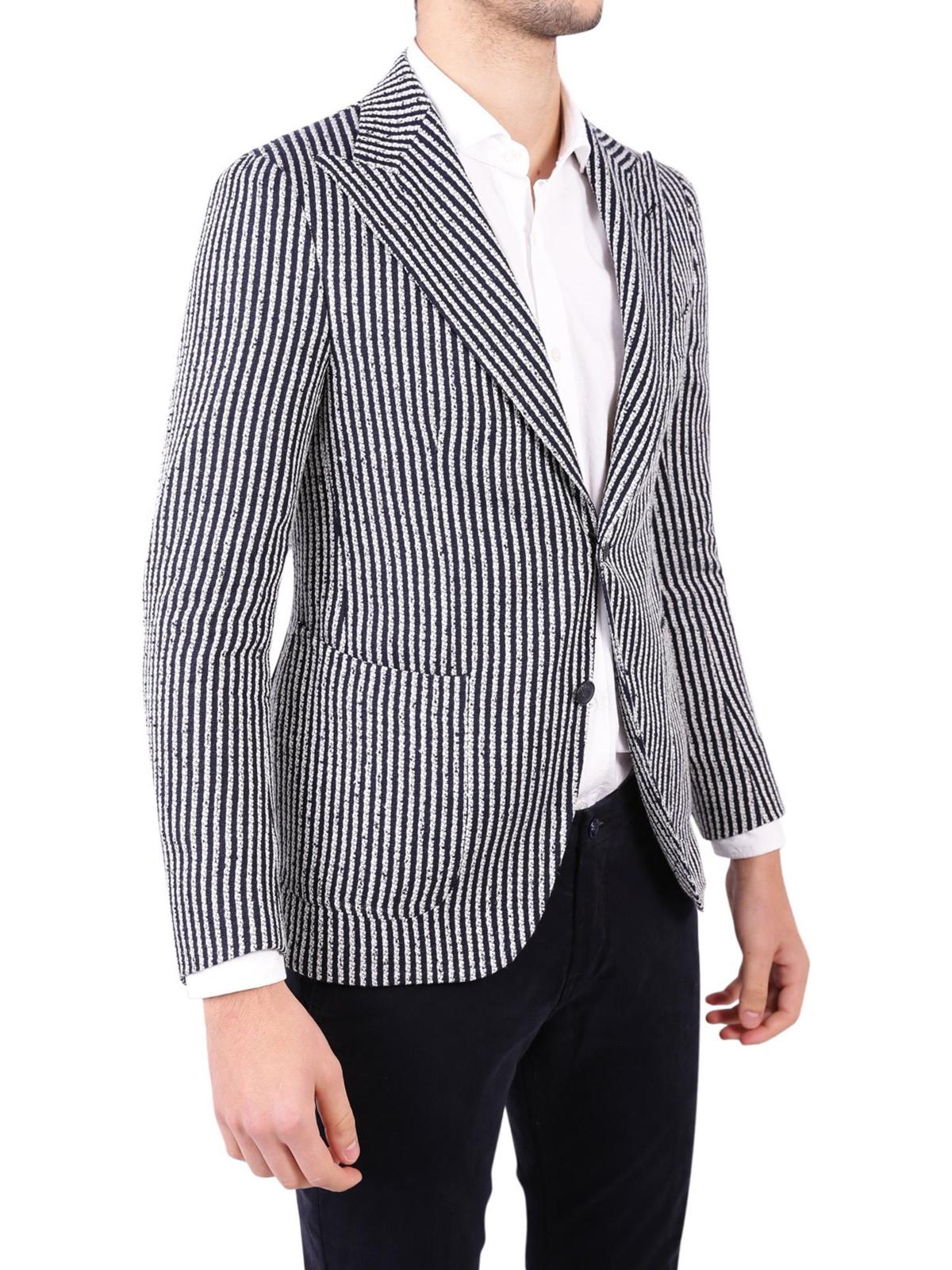 check out ec7d1 1815f Tagliatore - Giacca in misto lino a righe - giacche blazer ...