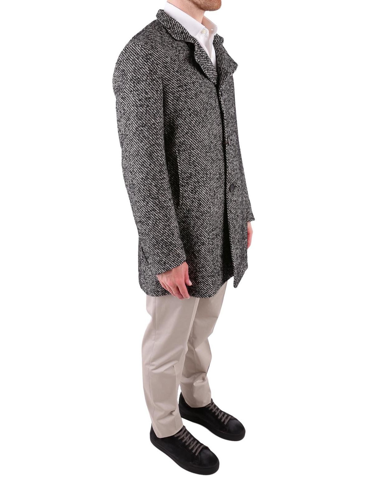 promo code 780ac a0874 Tagliatore - Cappotto in misto lana bianco e nero - cappotti ...