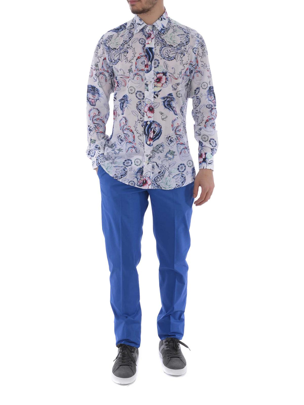 Etro - Camicia in cotone stampa tattoo - camicie - 129086258991 afd5c781809