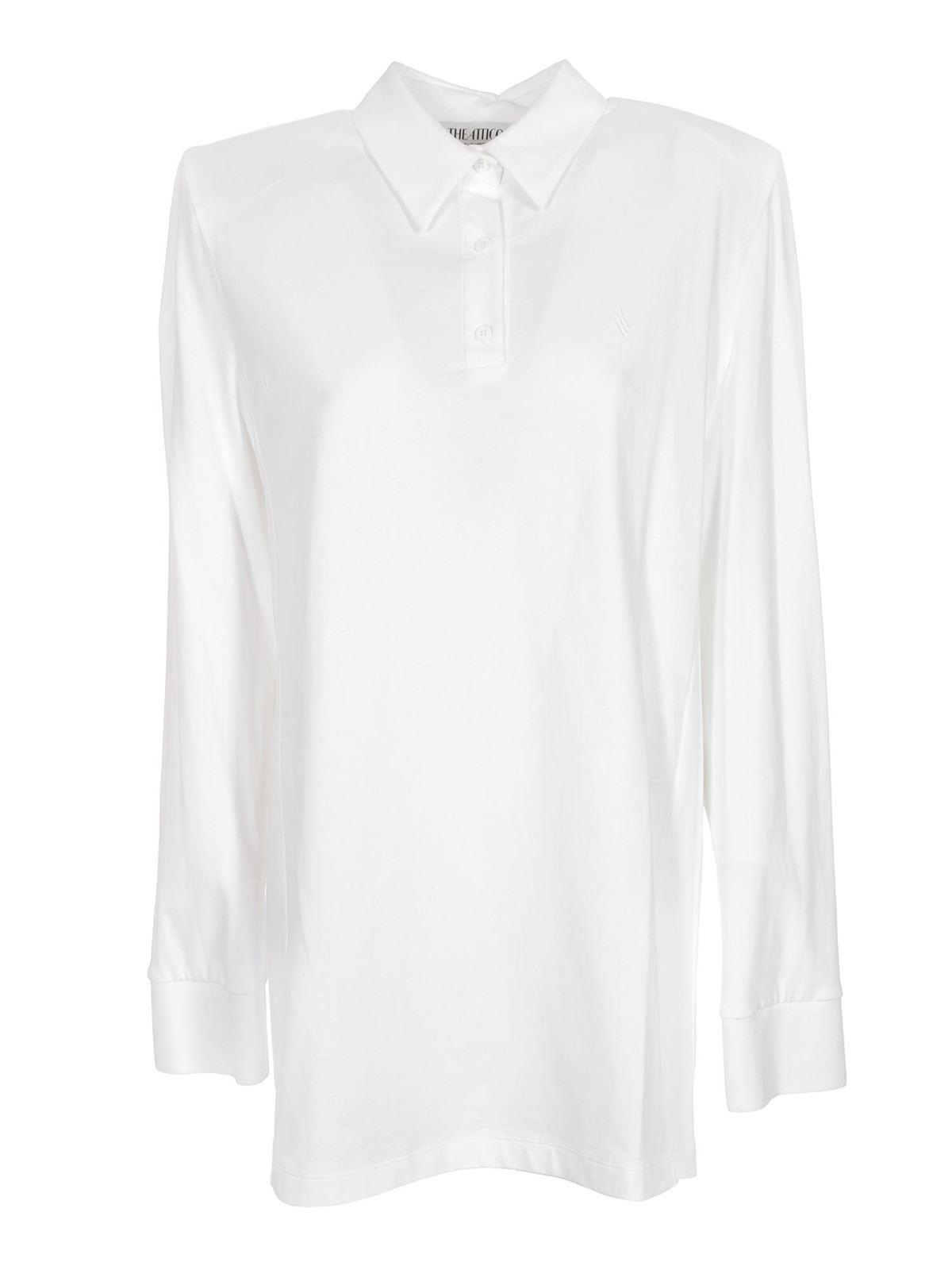 ATTICO ASTRID MINI POLO DRESS IN WHITE