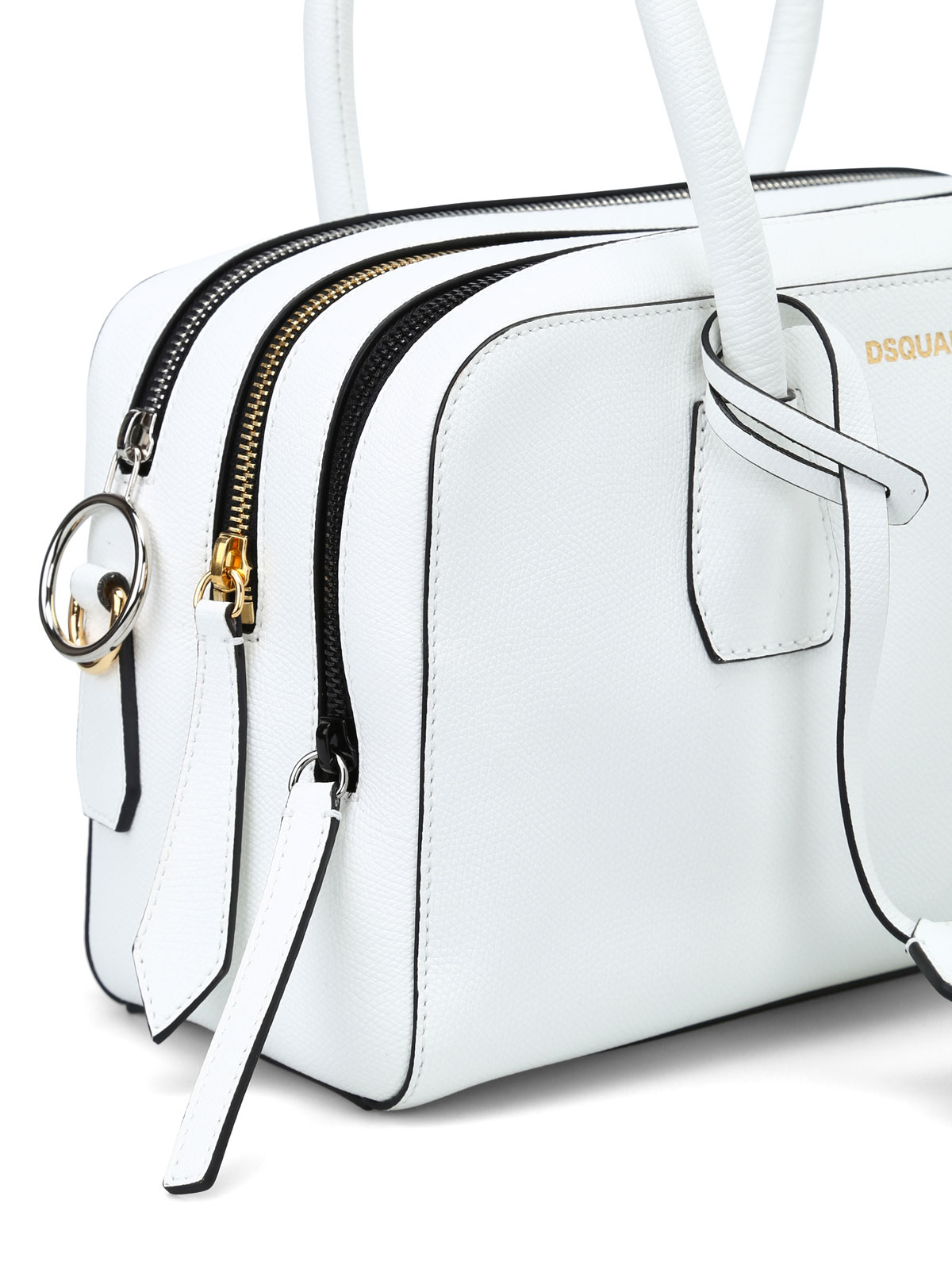 Dsquared2 Three zip white leather bowling bag z9bjVJSA